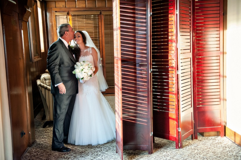 Rustic wedding father daughter reveal