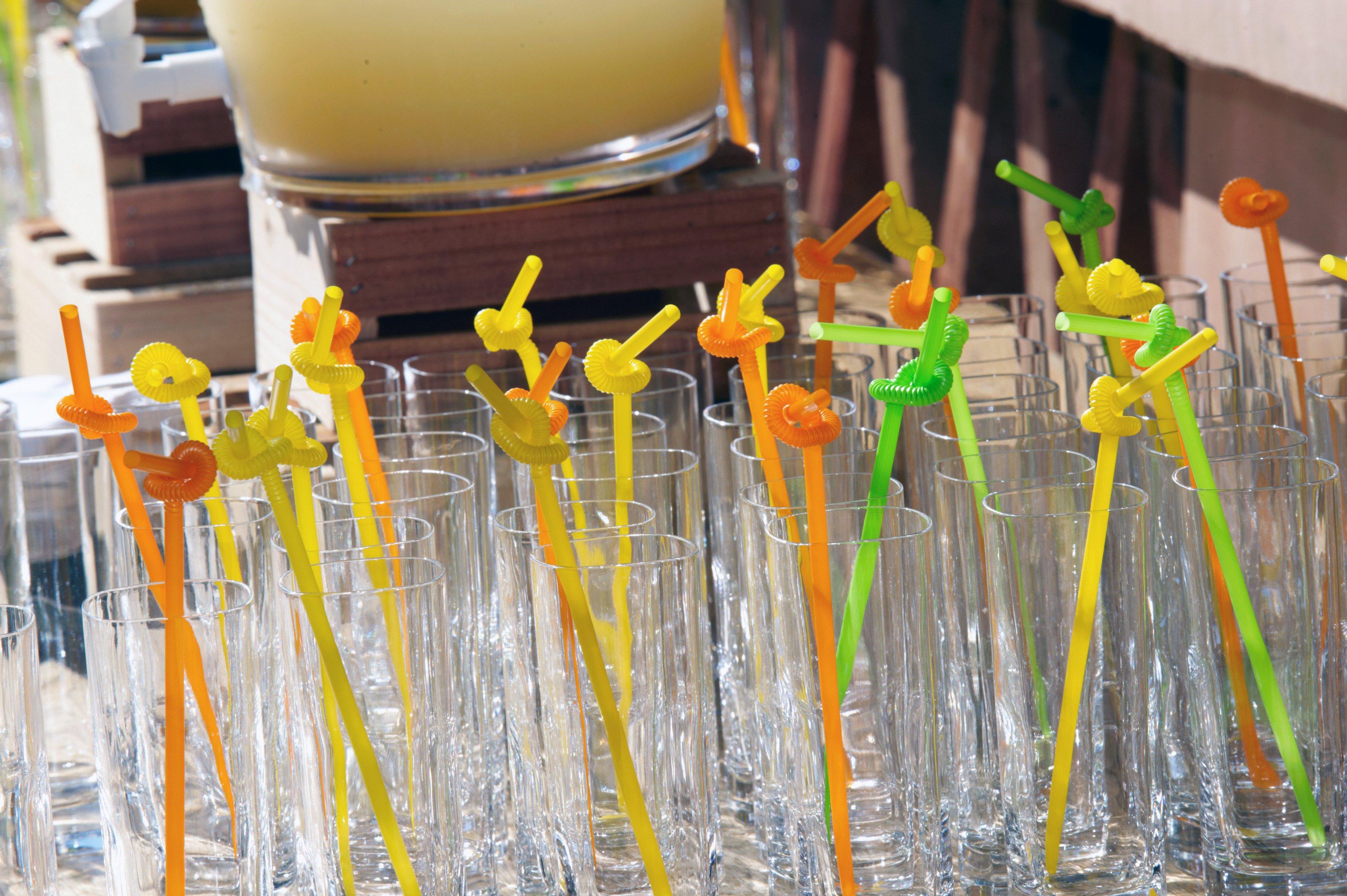 Swirly fun straws at wedding reception