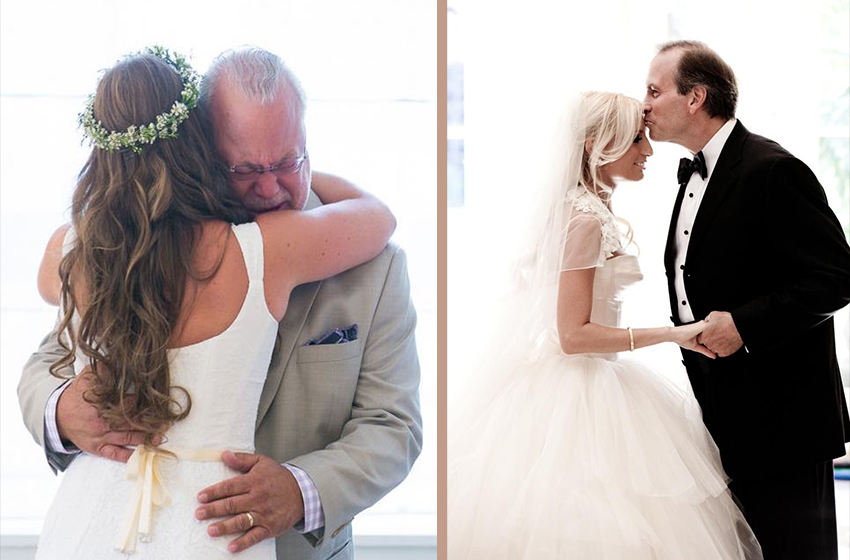 Collage of father of the bride photos