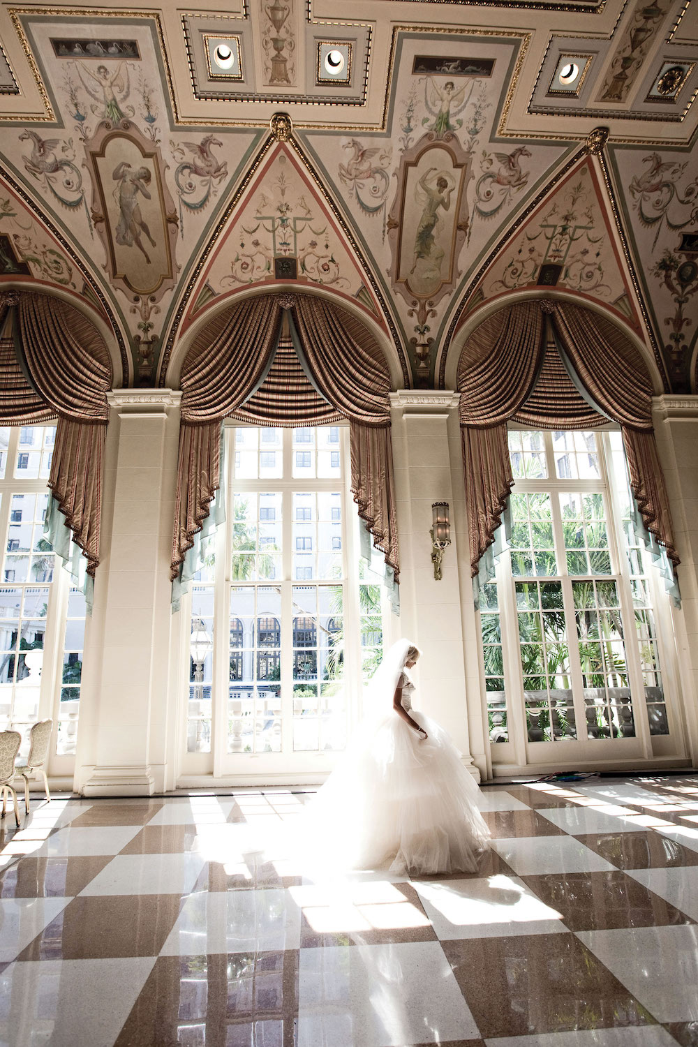 Tulle skirt on bride at The Breakers