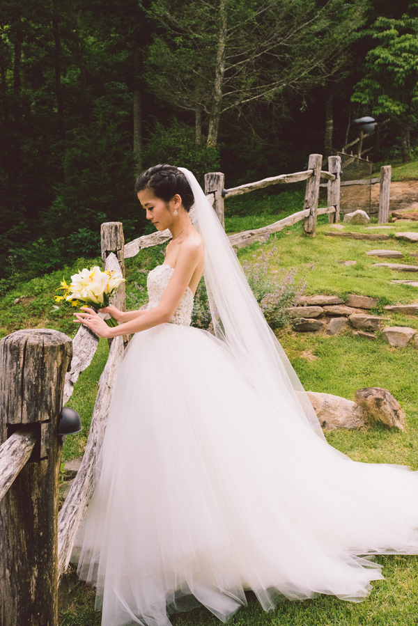 Asian American bride with tulle skirt wedding dress