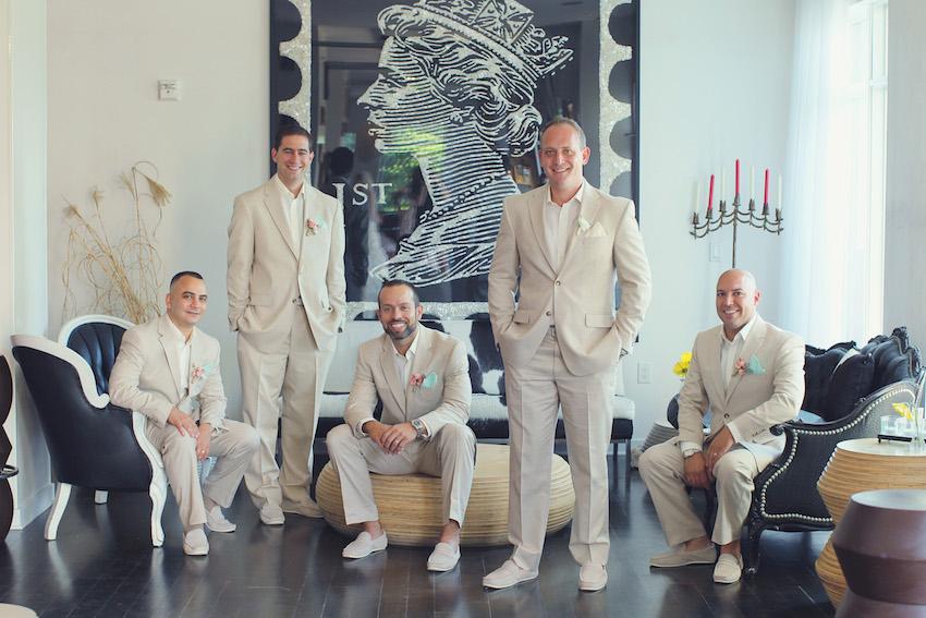 groom and groomsmen in khaki suits