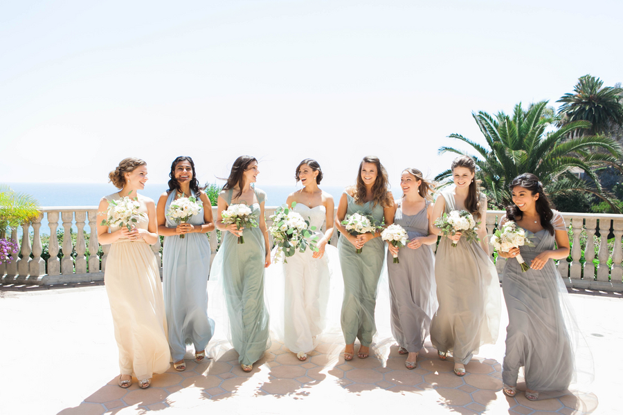 soft, relaxed, mismatched, pale, pastel, neutral bridesmaid dresses, chiffon