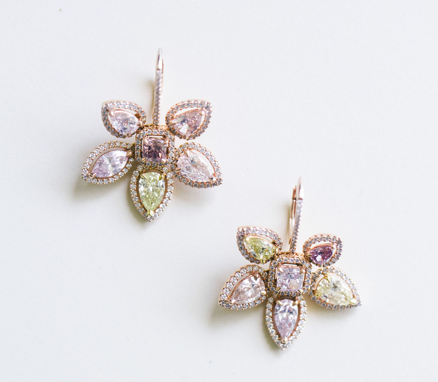 rose gold flower earrings with pale gemstones