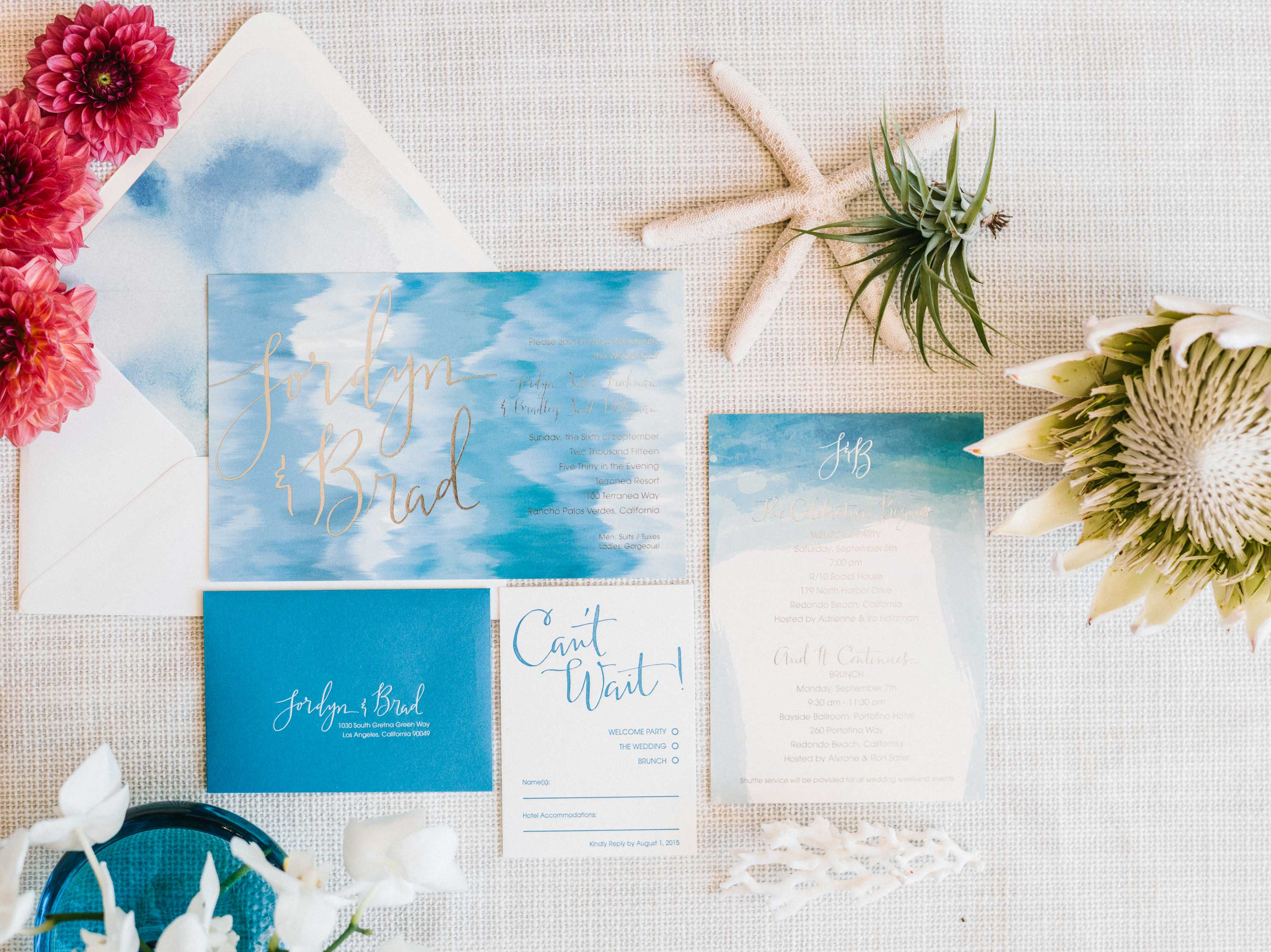 Light blue watercolor invitation spring 2016 Inside Weddings magazine