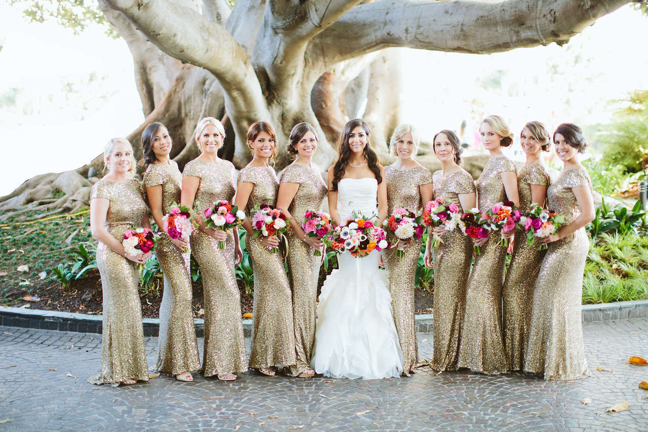 Bridesmaids in gold sequin dresses Spring 2016 issue of Inside Weddings magazine