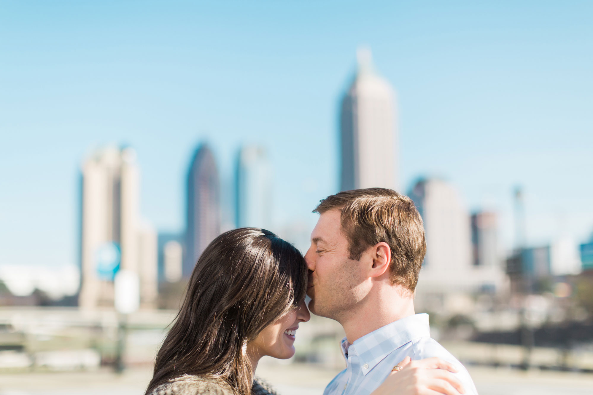 Vue Photography engagement session in Atlanta with skyline