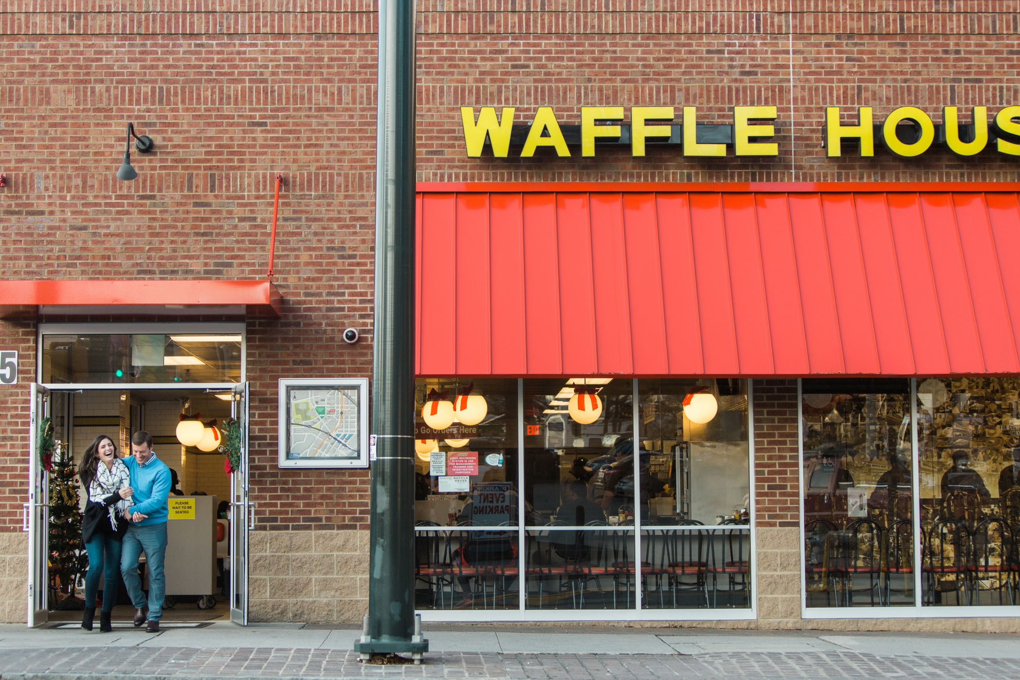 Fun waffle house location in Atlanta for Vue Photography engagement session