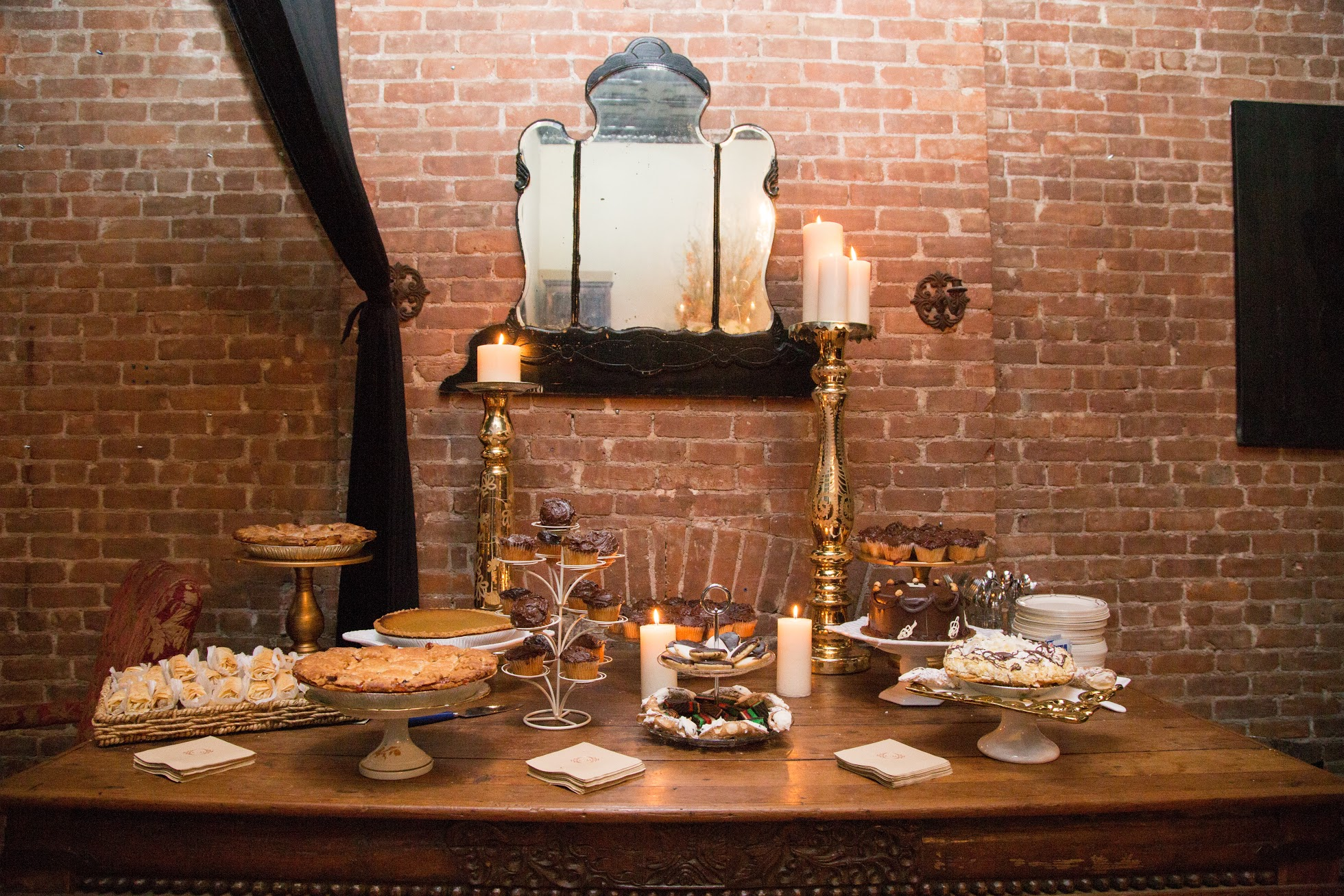 Sweet station at engagement party with Greek desserts