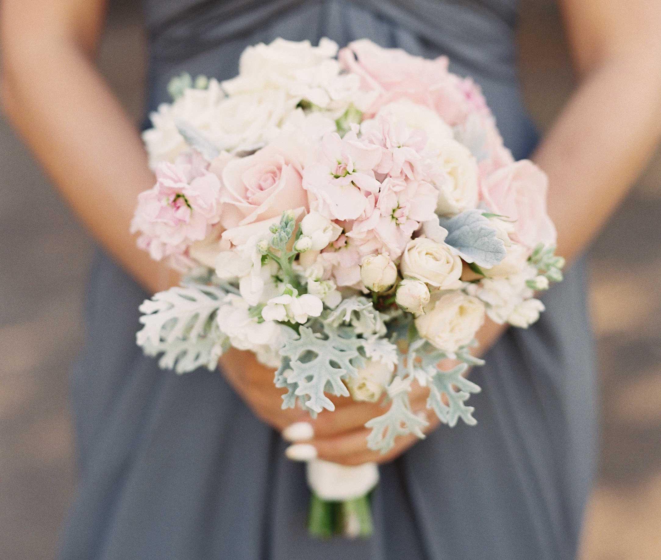 Light pink pastel wedding bridesmaid bouquet
