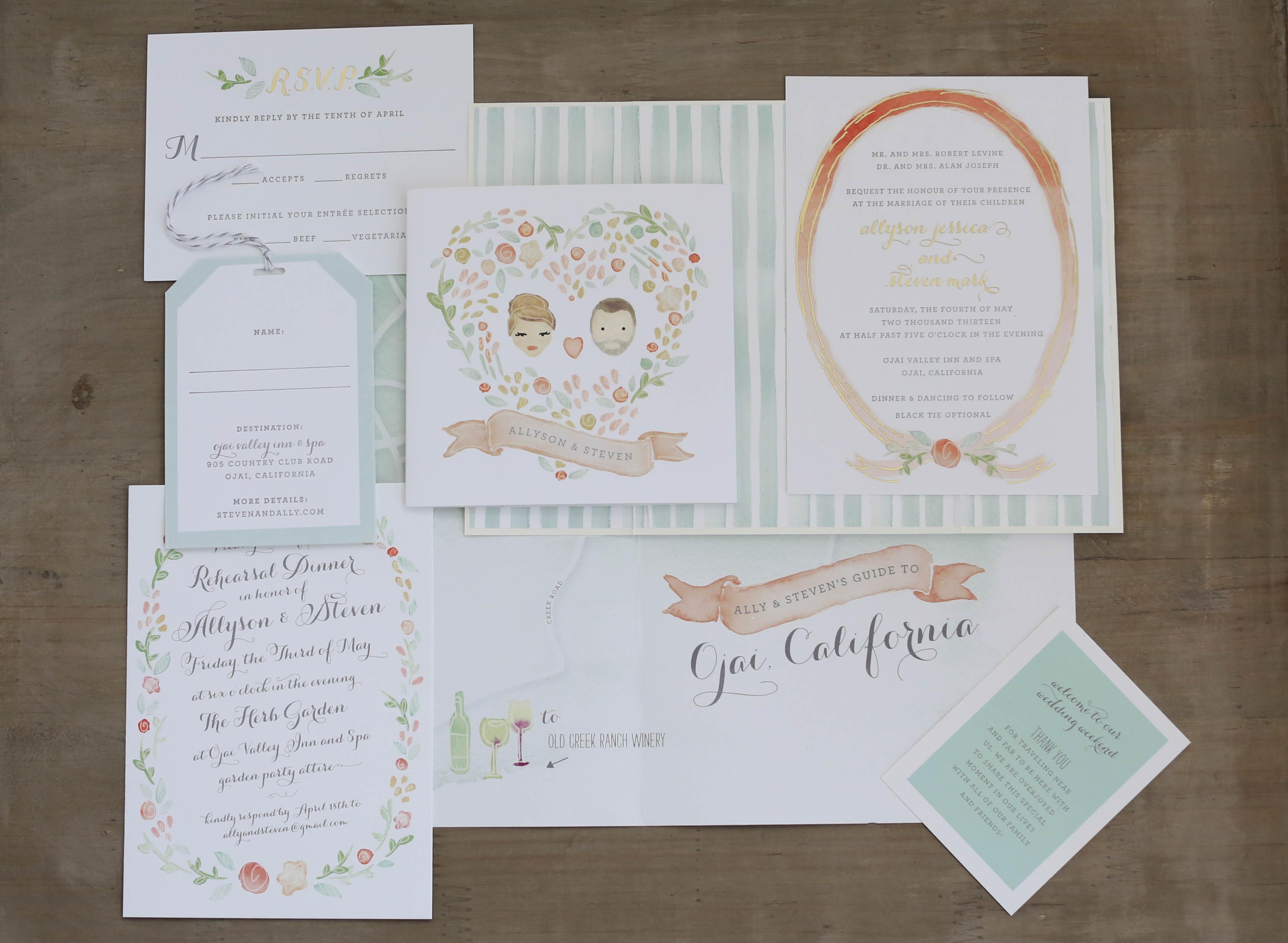 Pastel green and pastel orange watercolor wedding invitations
