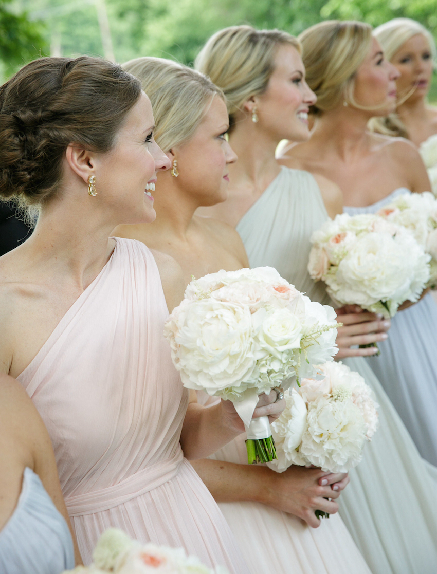 Pastel one shoulder floor length bridesmaid dresses