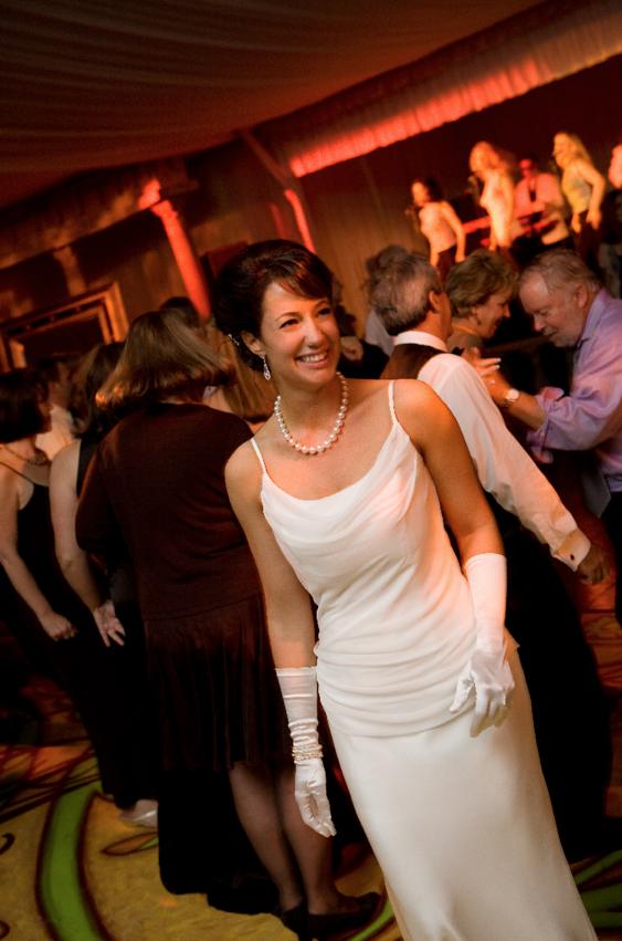 sleek vera wang sheath, reception dress