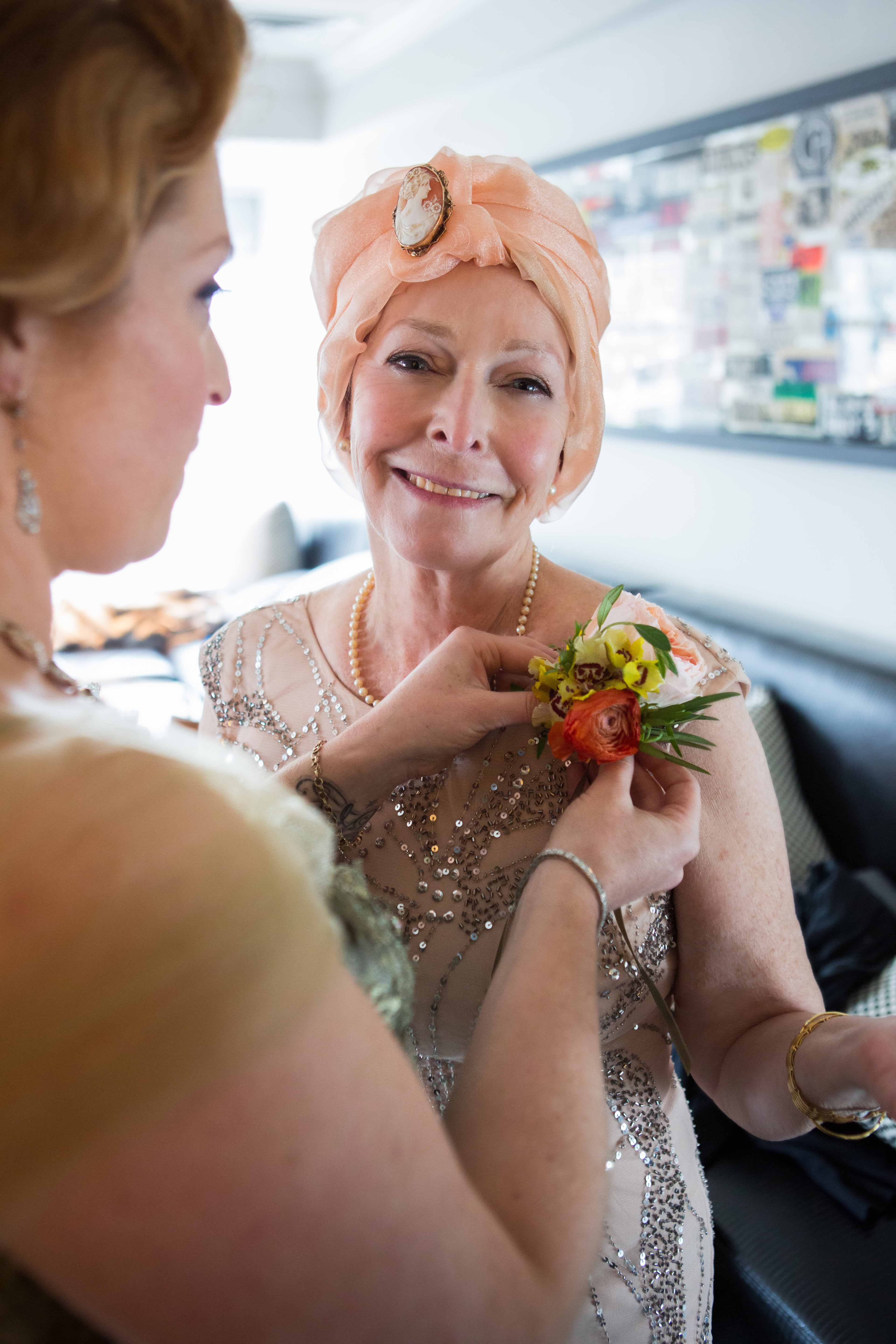 Mother of Bride matron of honor in peach dress stage four ovarian cancer