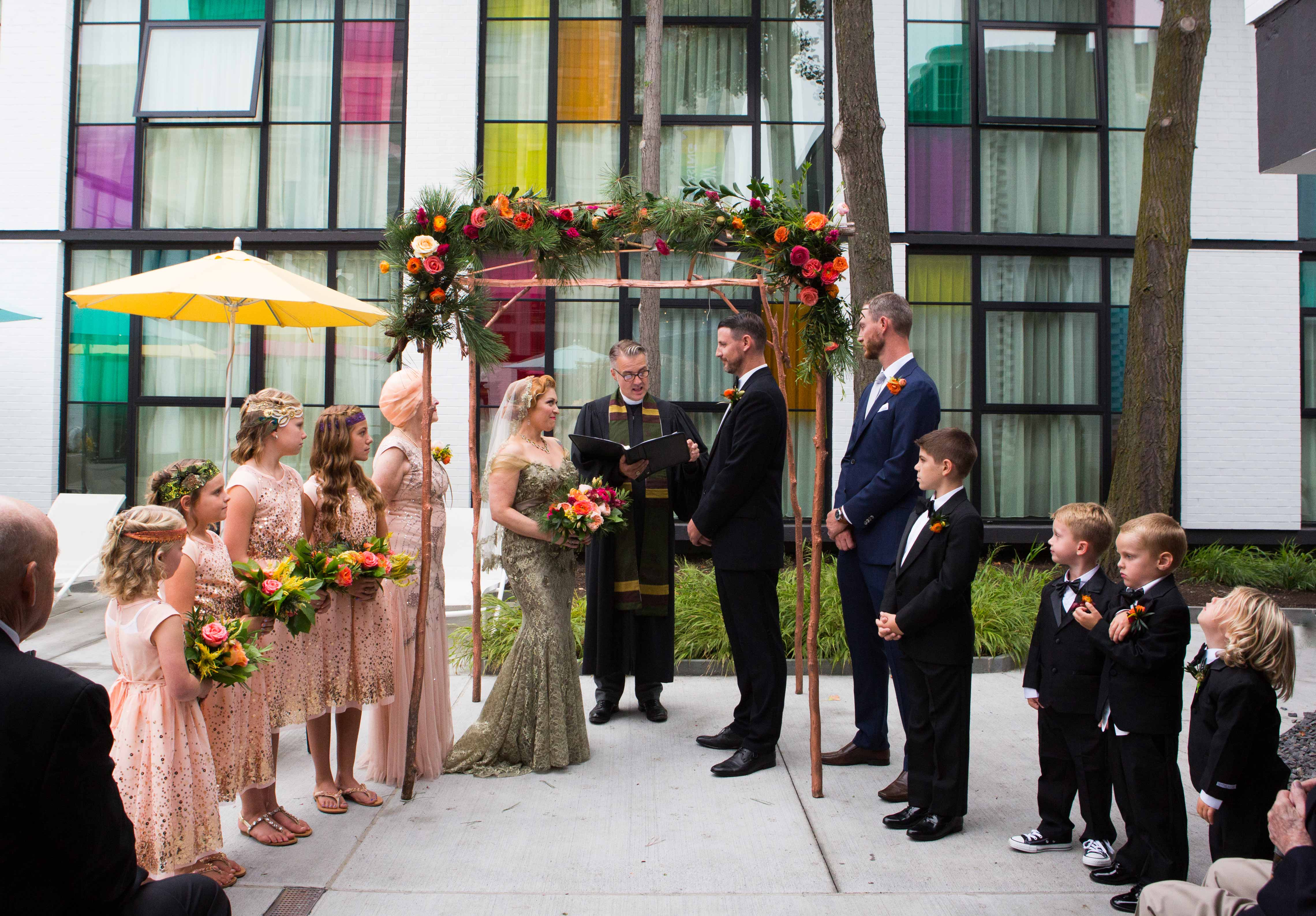 Outdoor wedding ceremony at Verb Hotel mother of bride as matron of honor