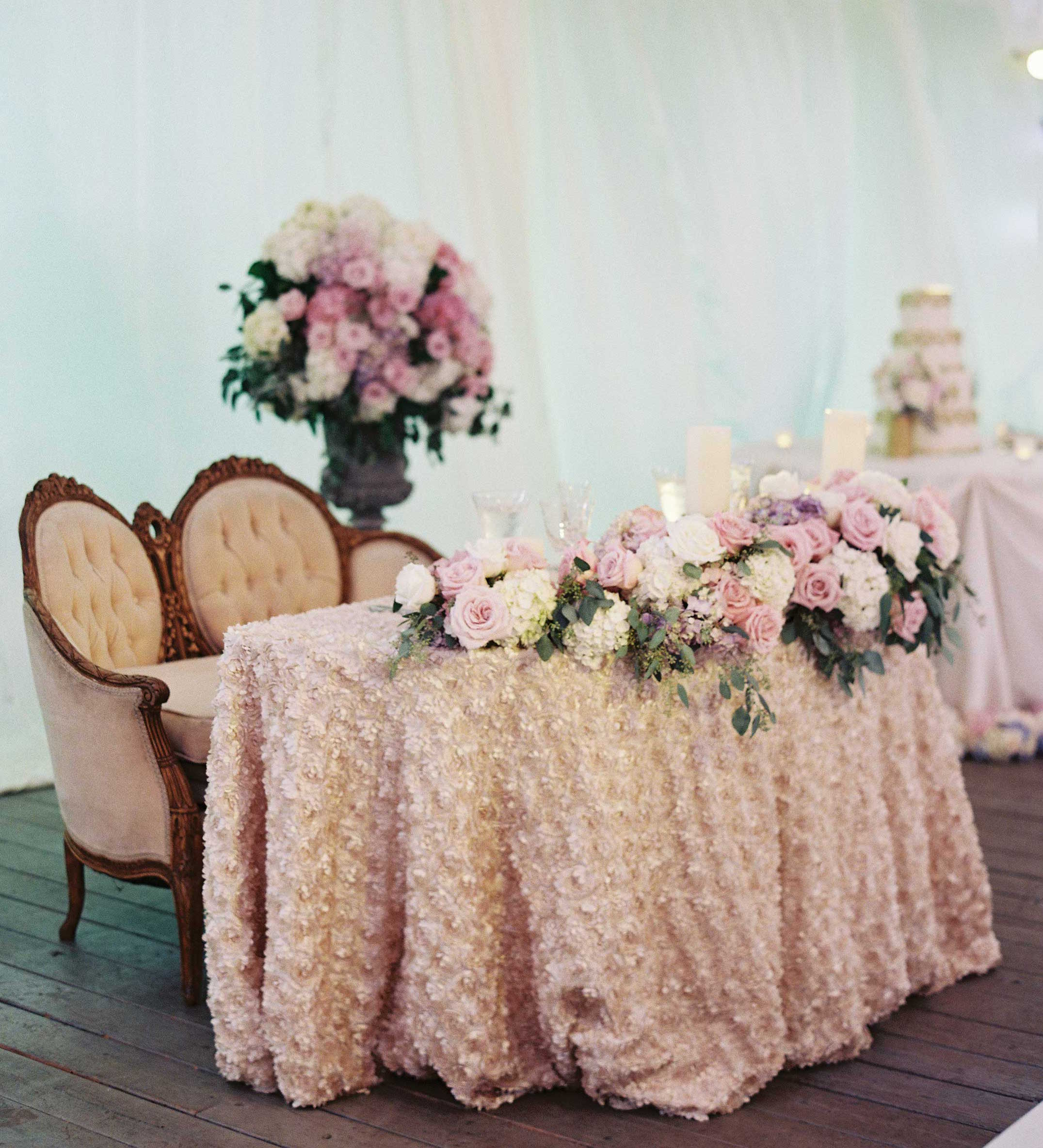 French theme wedding ruffle sweetheart table