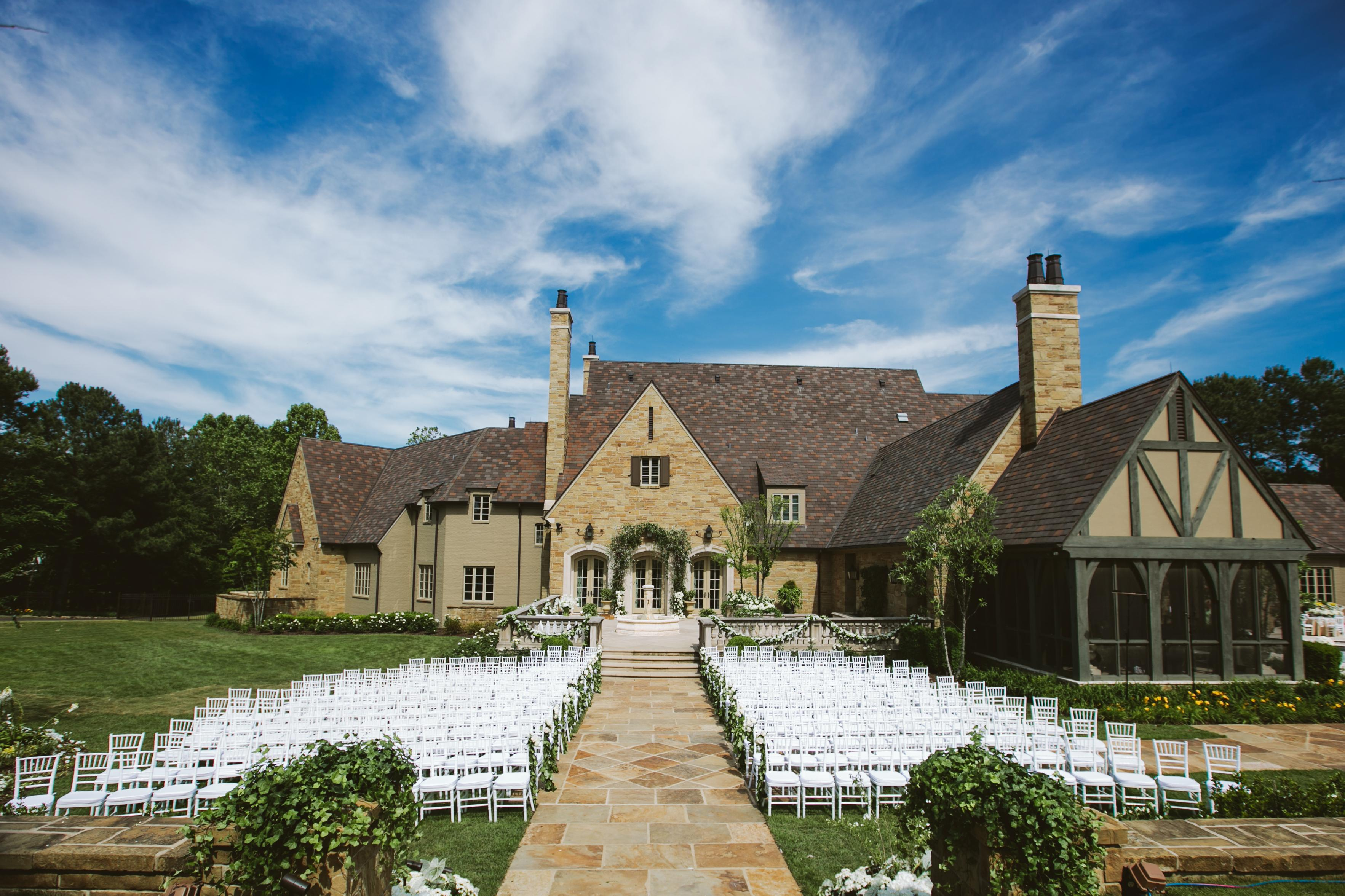 mansion backyard wedding, outdoor wedding