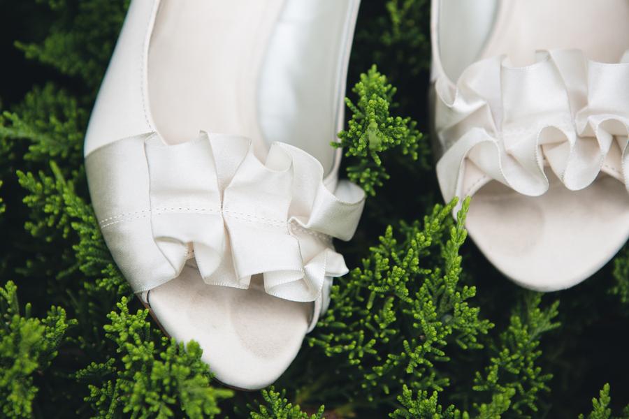 White peep toe ruffle wedding shoes for bride