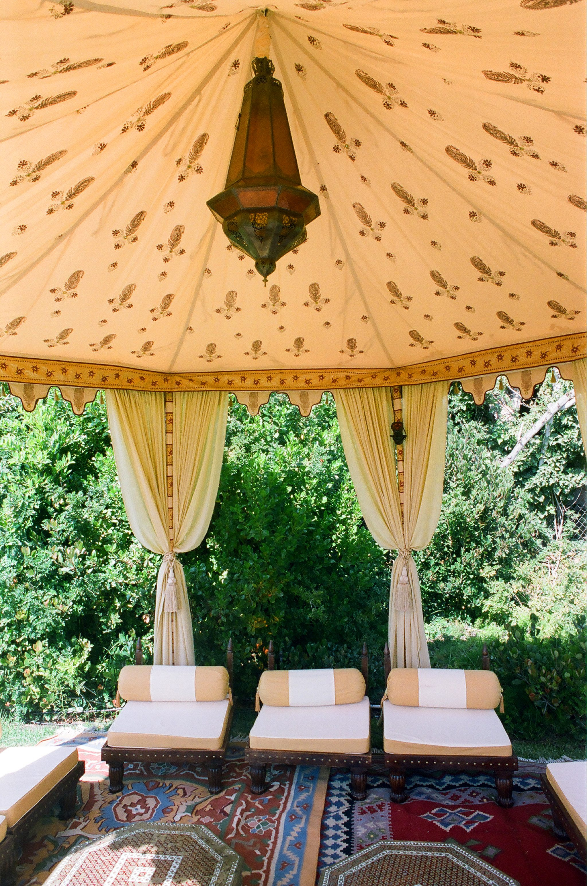 moroccan inspired lounge space for wedding reception