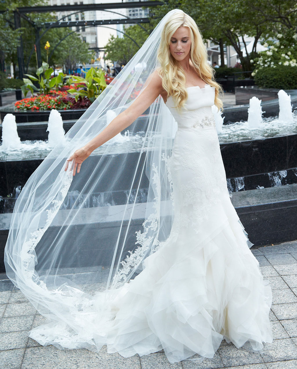 lace cathedral veil in the wind