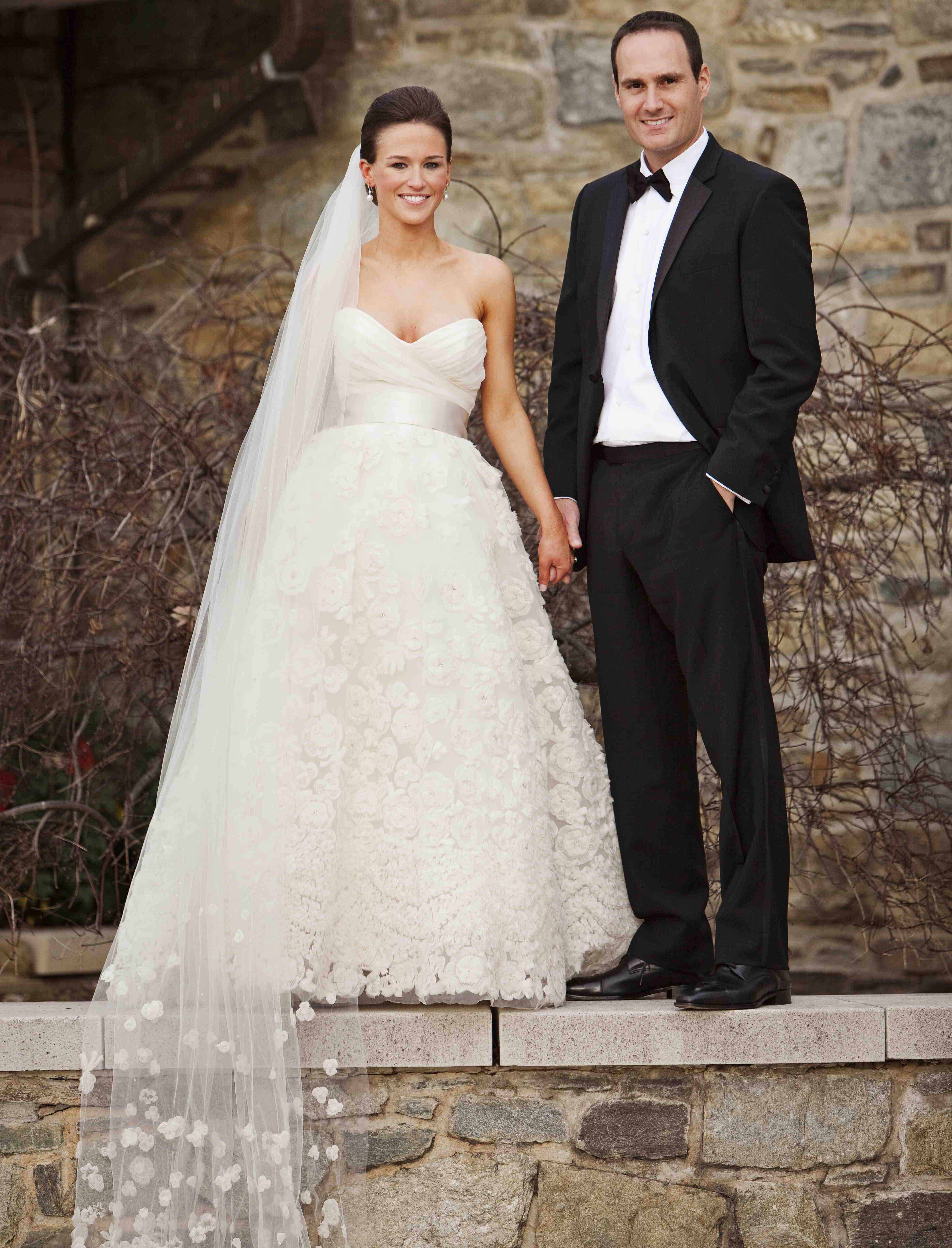 bride and groom portrait, cathedral veil with floral applique