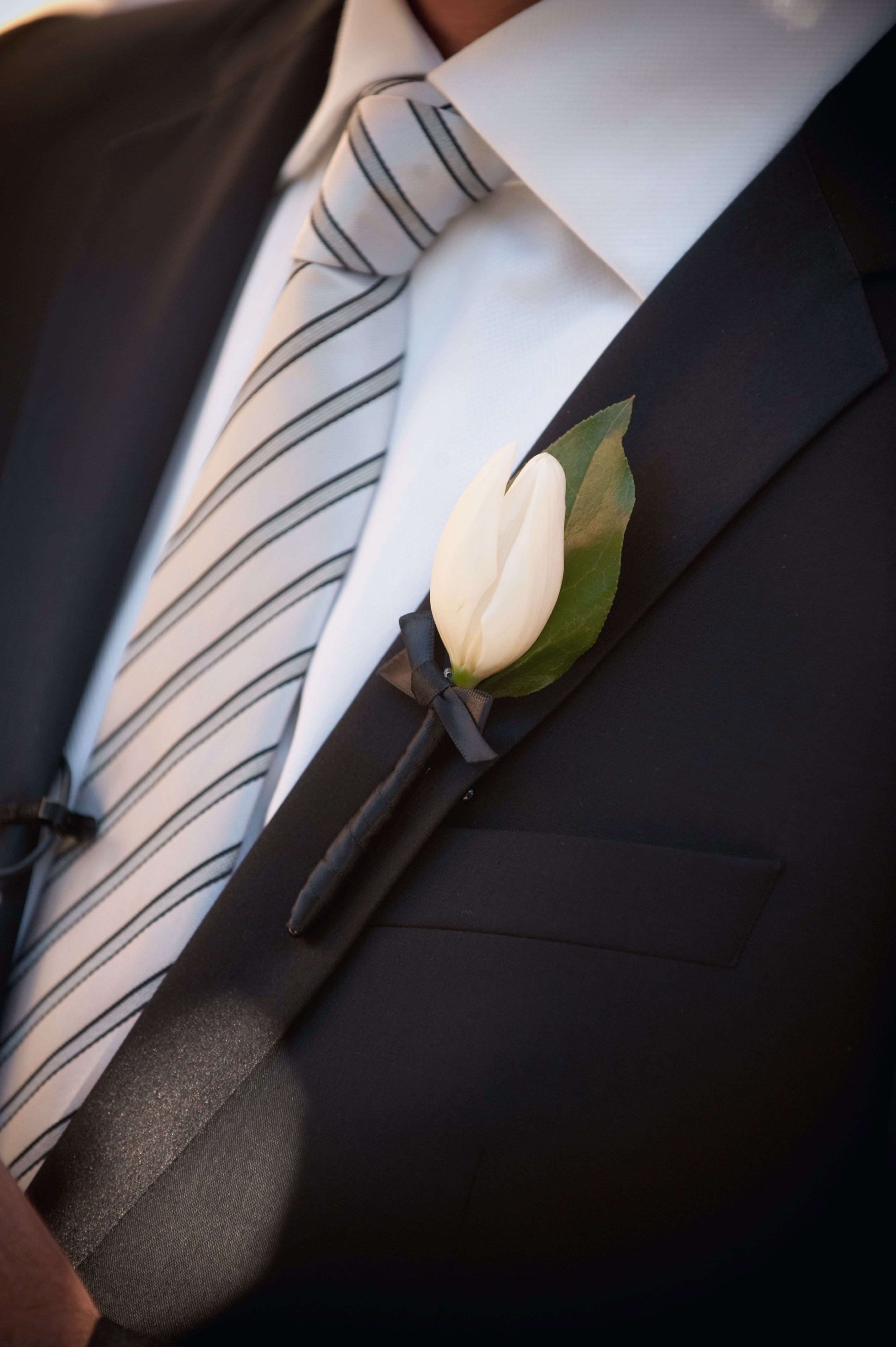 groom silver and white striped tie