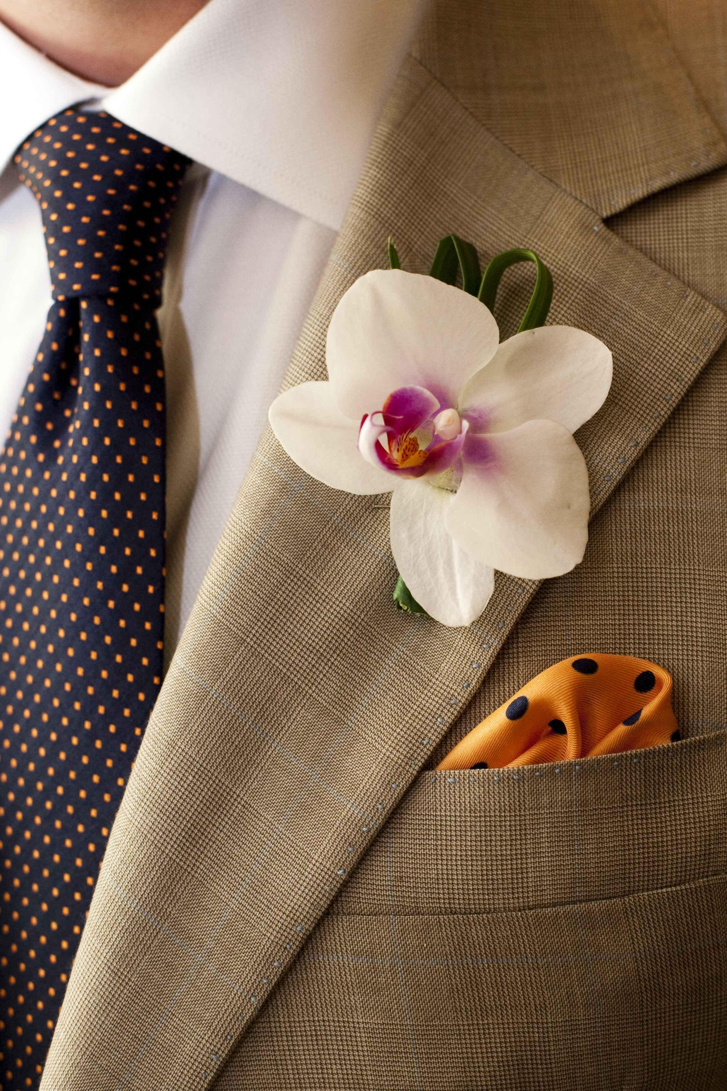 groom tie orange and black polka dots