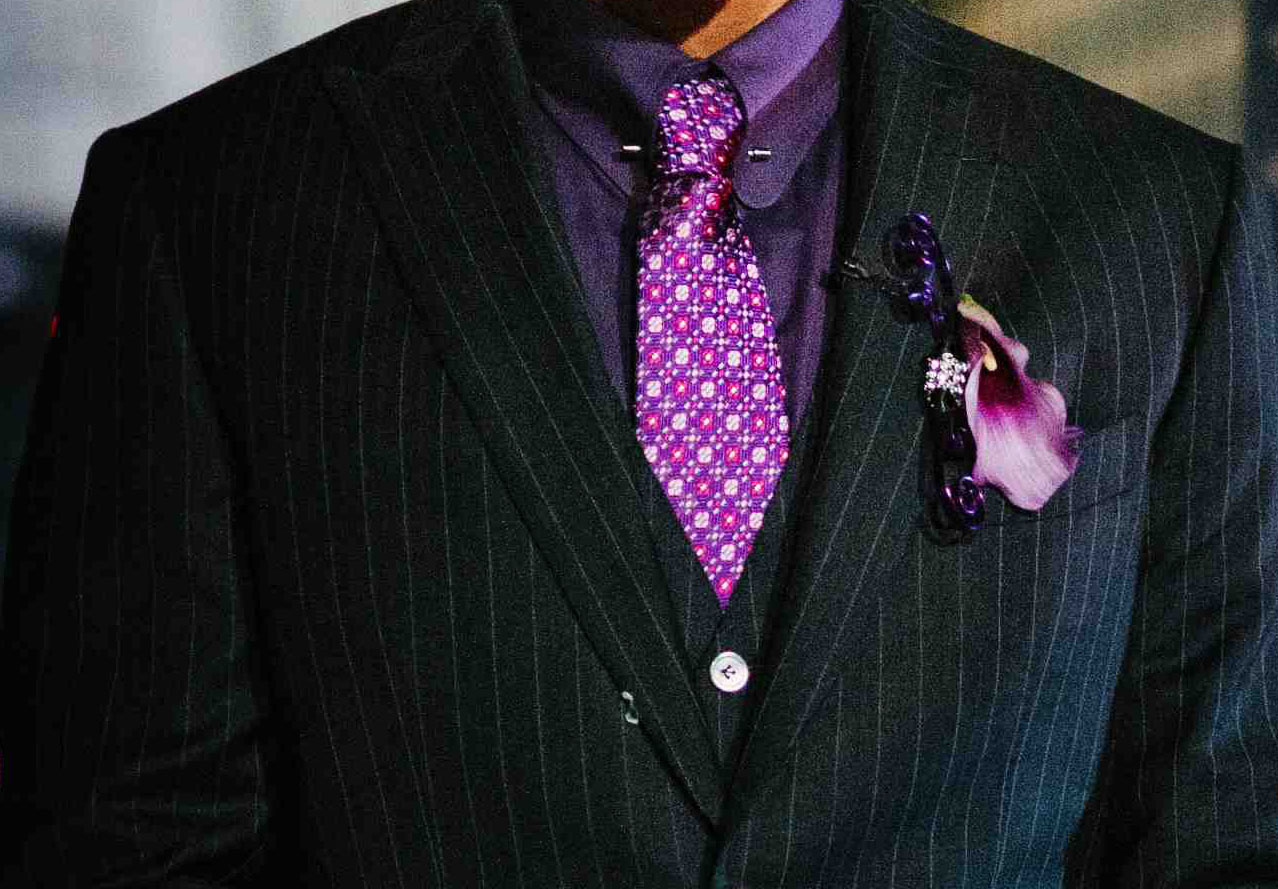 groom purple pattern tie