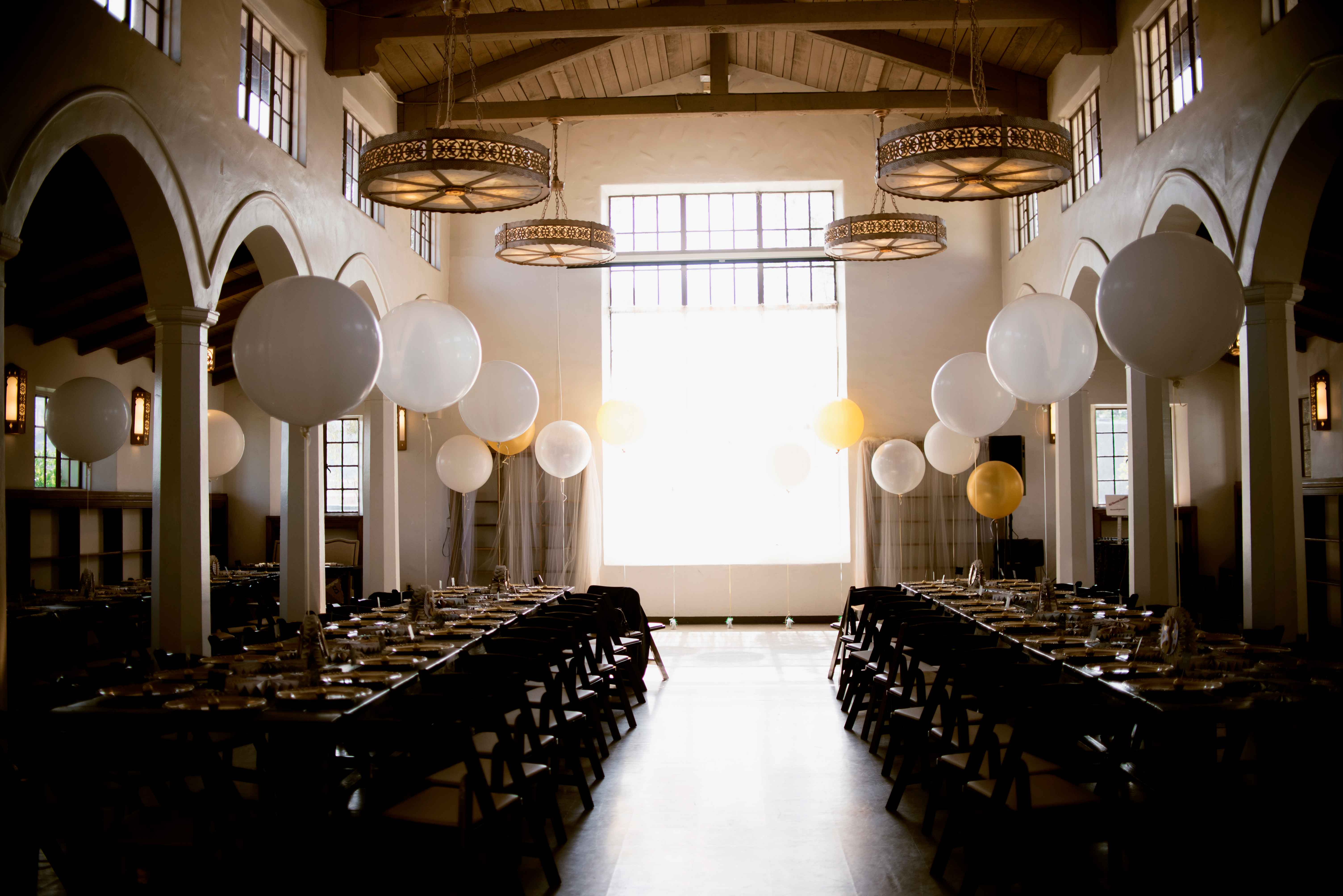 Balloon wedding decor at Miss Rockabilly Ruby DIY wedding
