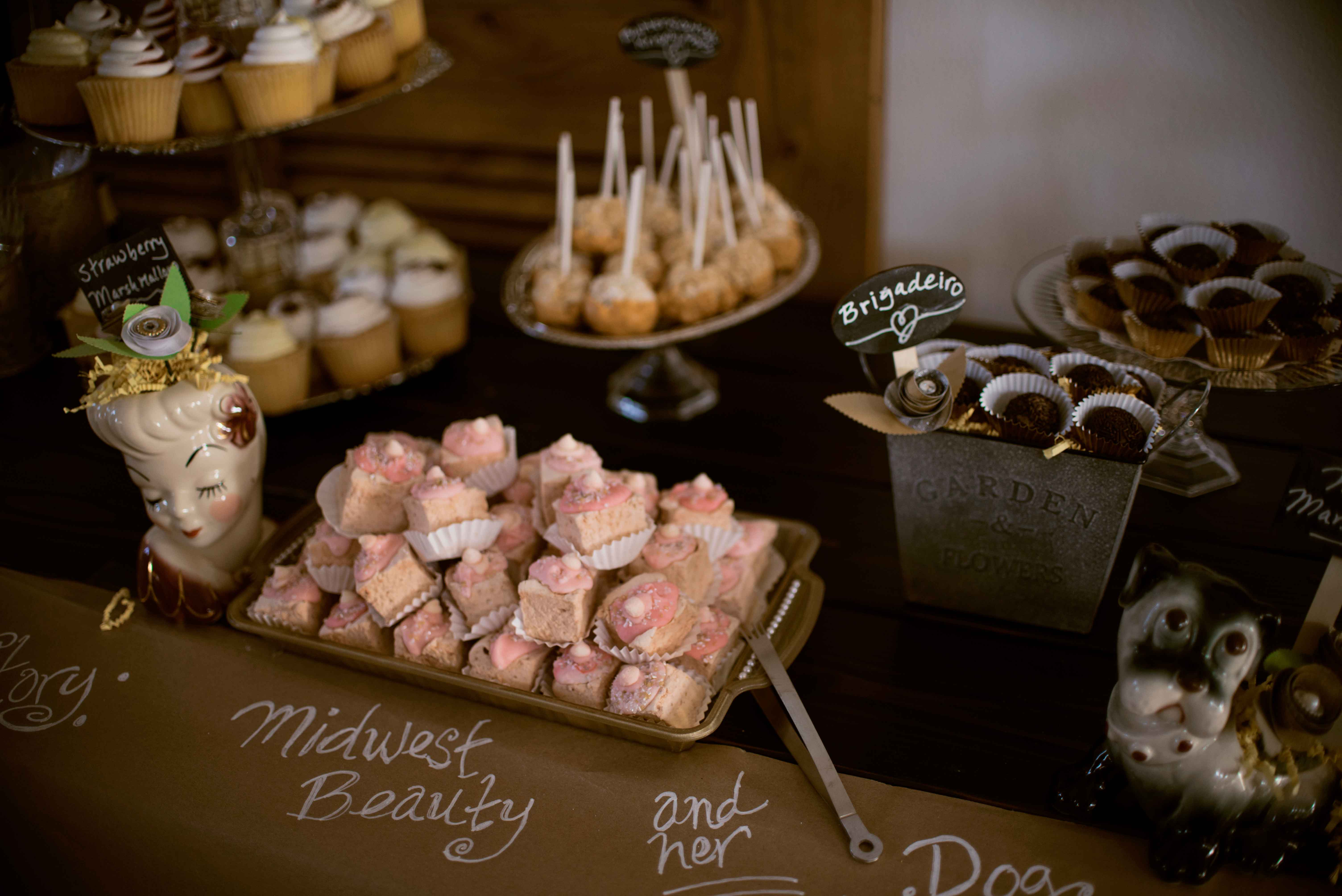 DIY dessert bar how they met story Miss Rockabilly Ruby wedding