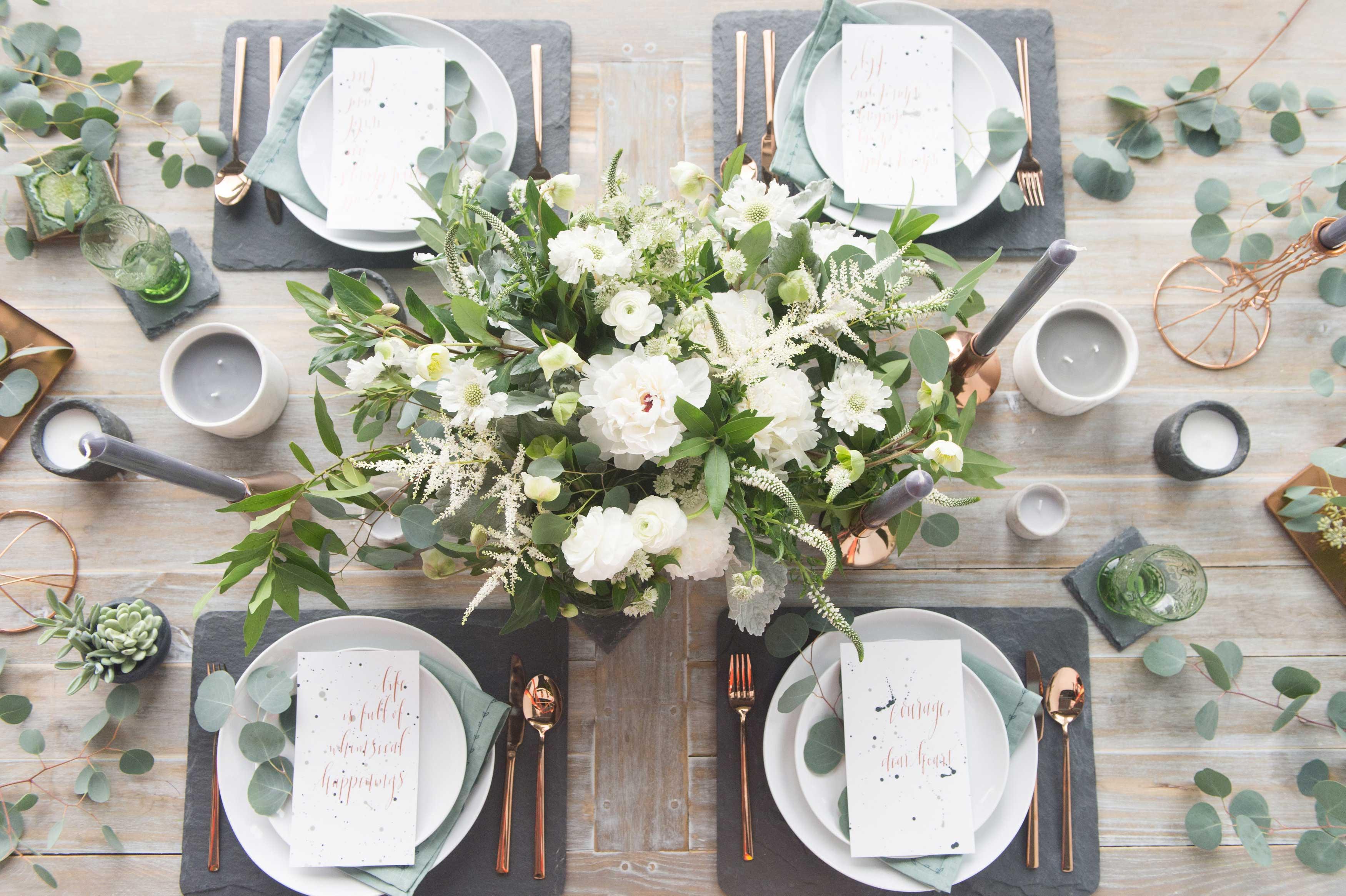 EVOKE DC Modern Whimsy wedding table idea rose gold flatware green centerpiece