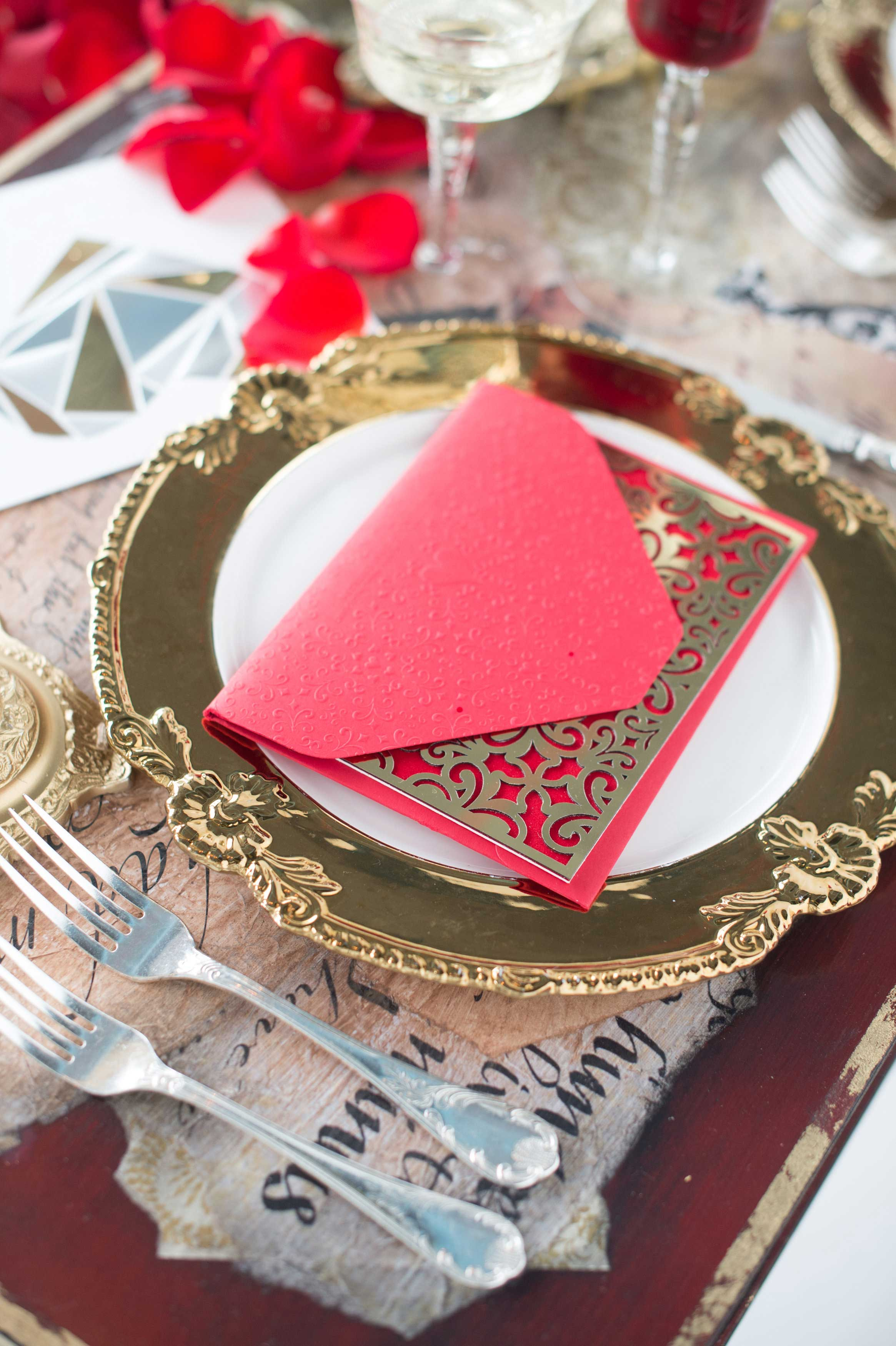 EVOKE DC Love Letters sweetheart table with red and gold laser cut envelope love letter