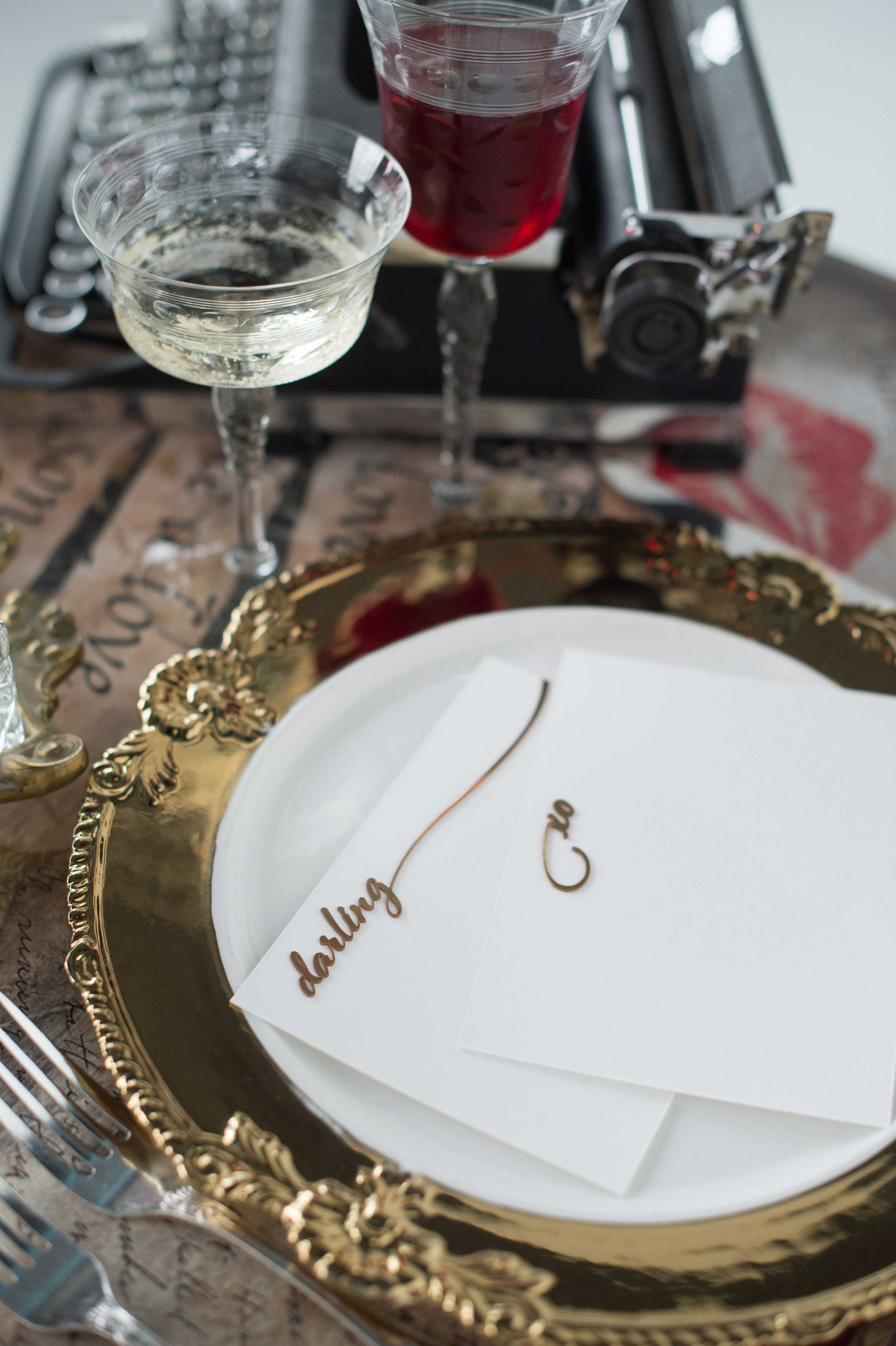 EVOKE DC Love Letters sweetheart table with laser cut gold modern calligraphy script