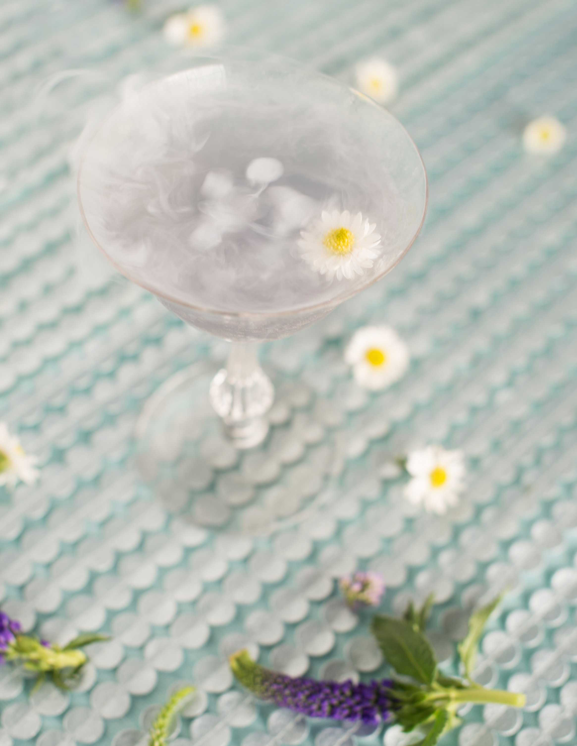 EVOKE DC Seasons of Cocktails light purple wedding cocktail with edible flower