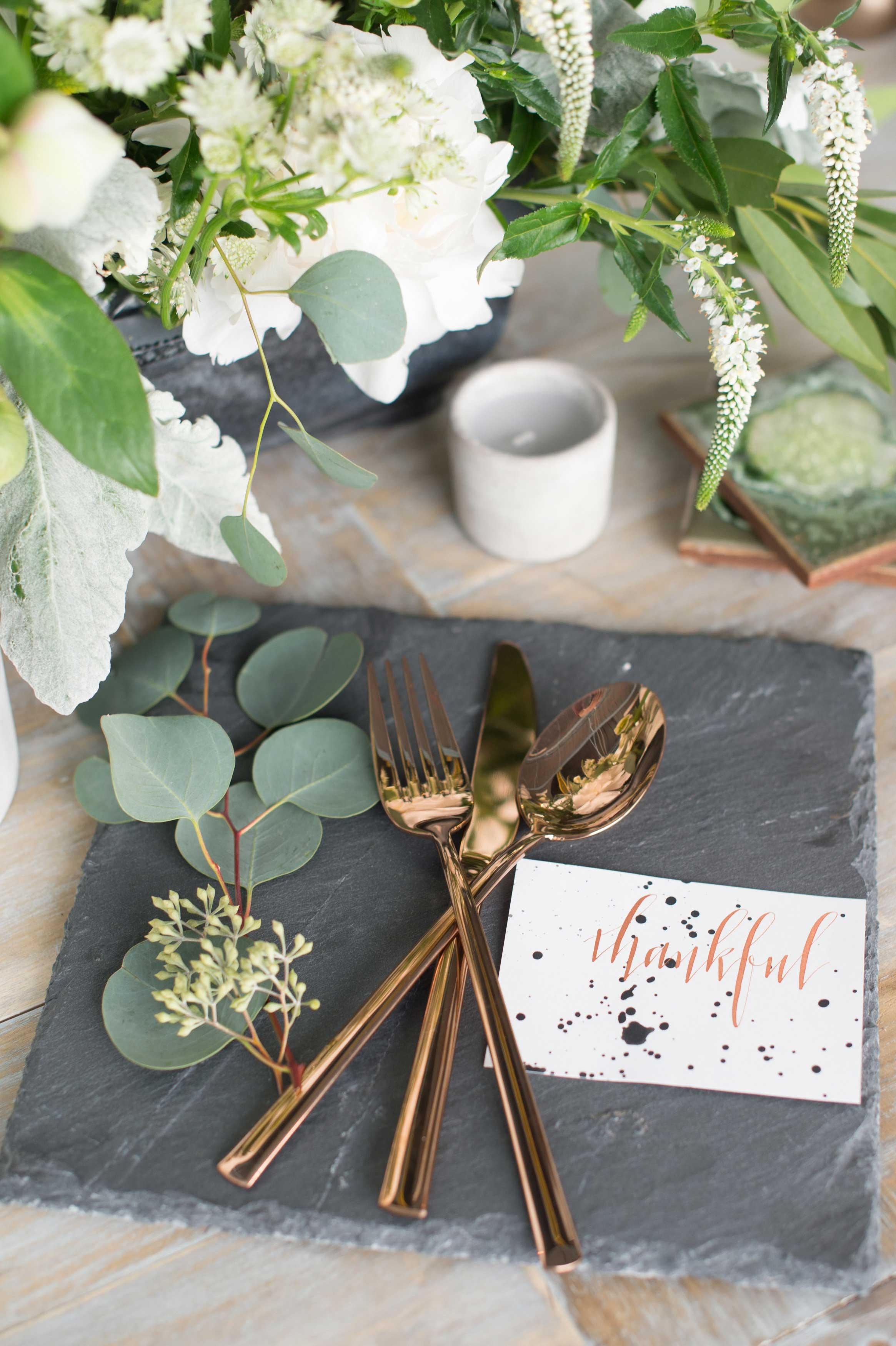 EVOKE DC Modern Whimsy wedding ideas slate stand with rose gold flatware fork knife spoon