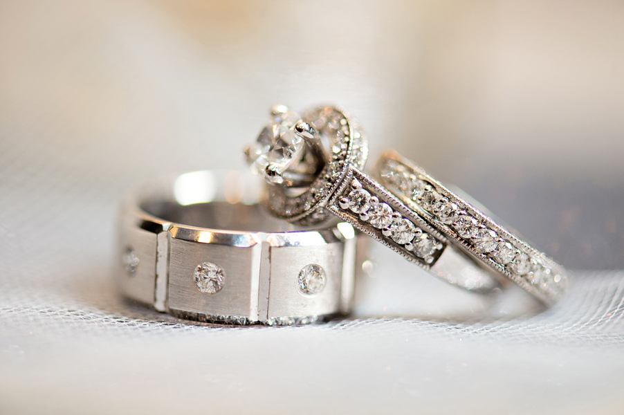 white gold grooms wedding ring with vertical notches and small diamonds - Grooms Wedding Ring