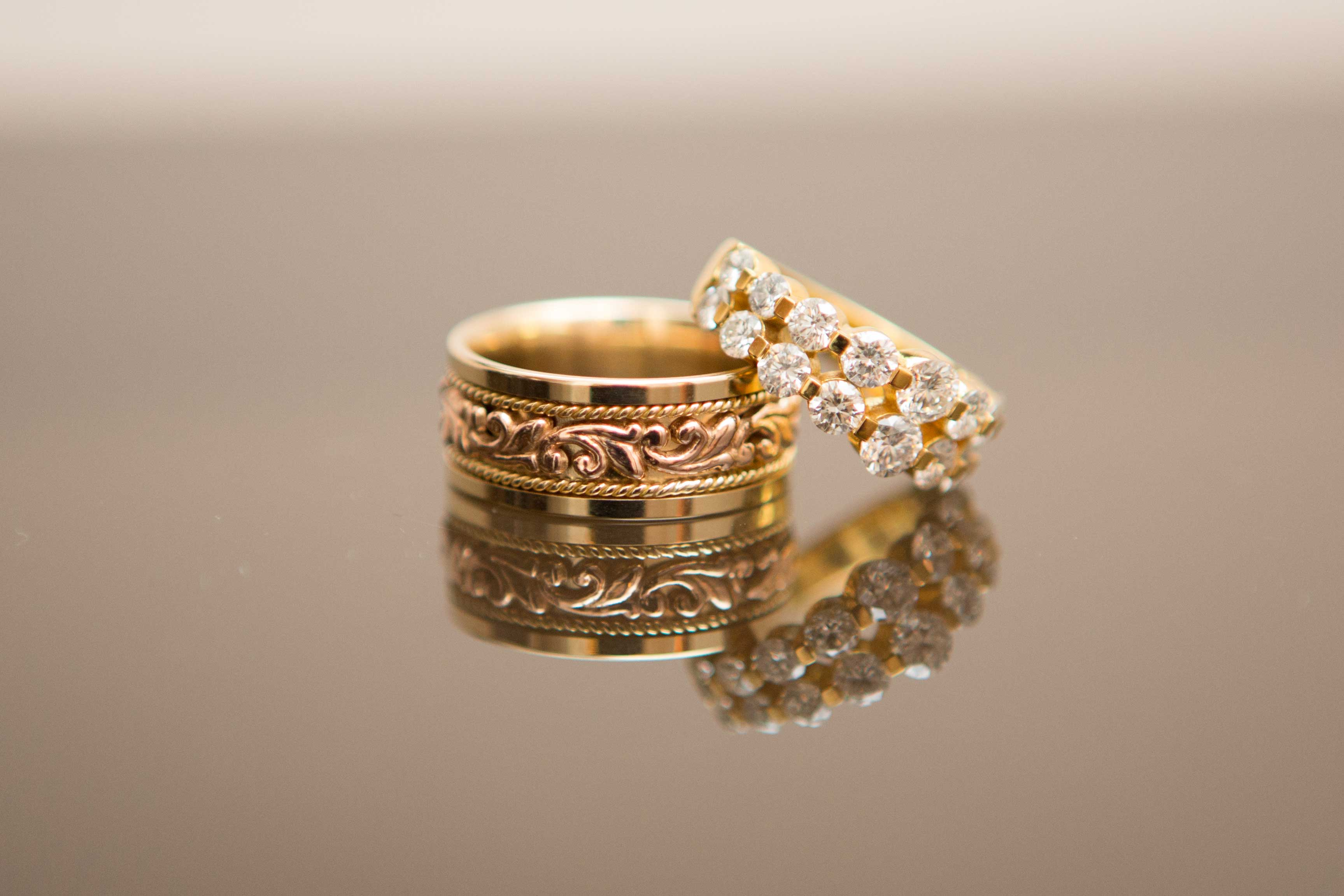 yellow gold and rose gold grooms wedding ring with scrollwork detail - Grooms Wedding Ring