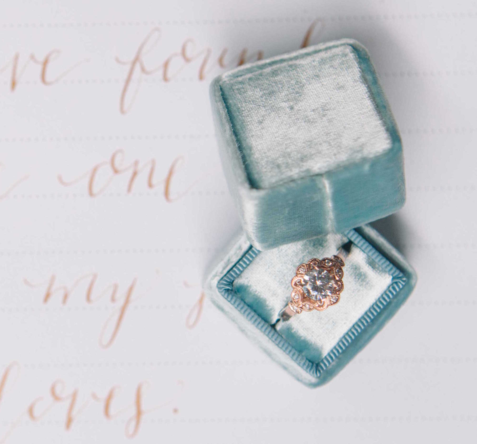 Rose gold wedding engagement ring in light blue The Mrs. Box