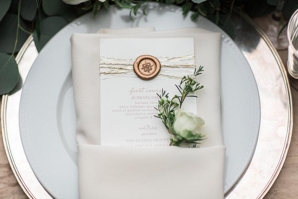 Wedding reception menu rose gold wax seal on menu card