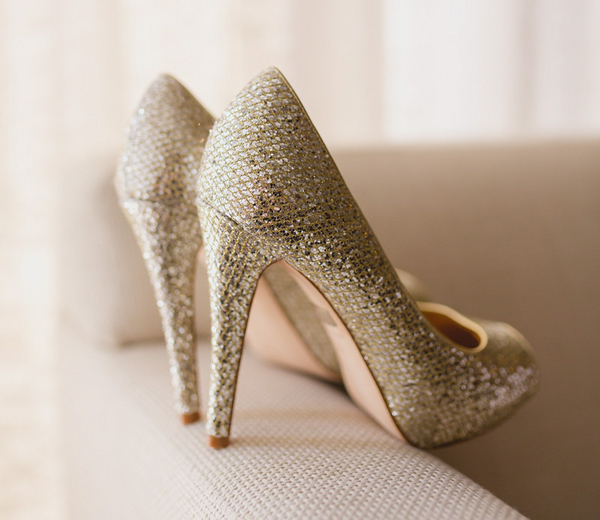 Metallic gold silver Jimmy Choo wedding shoes pumps