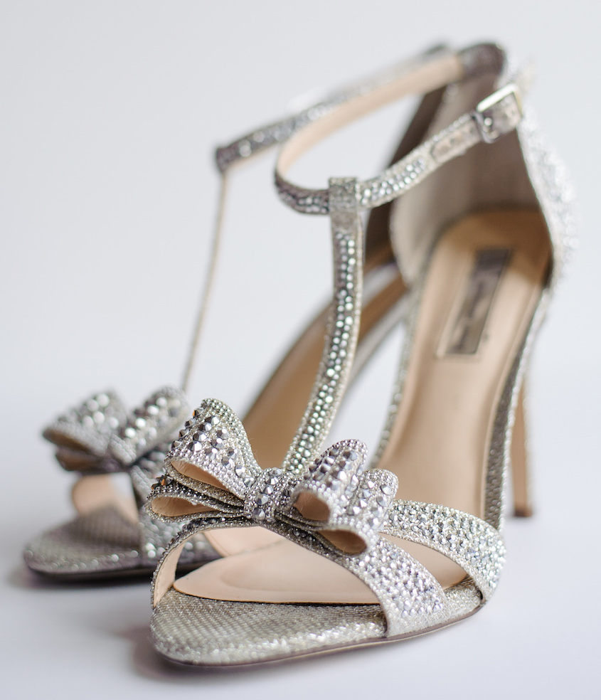 T-Strap wedding shoes with bow rhinestone crystals