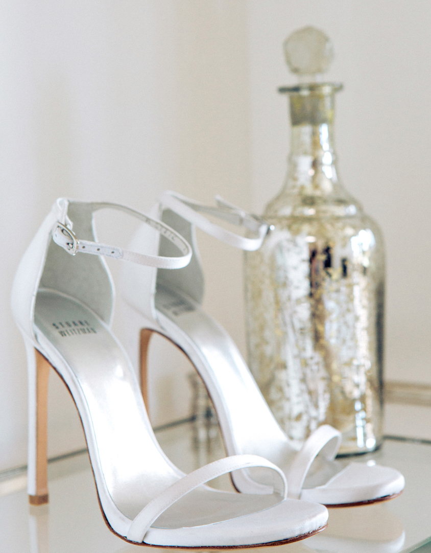 Stuart Weitzman White Wedding Shoes Sandals Ankle Strap