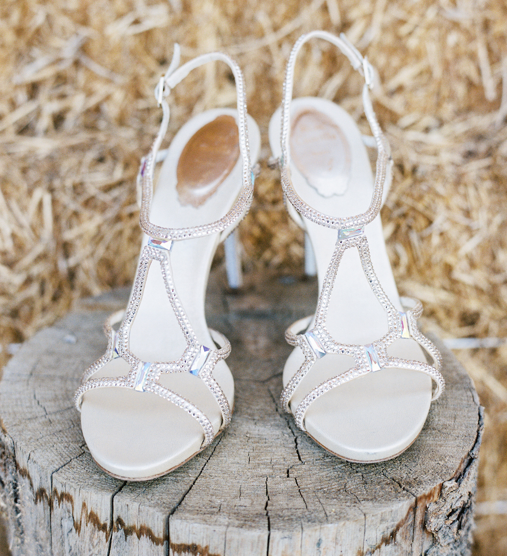 Metallic wedding shoes Rene Caovilla bridal heels