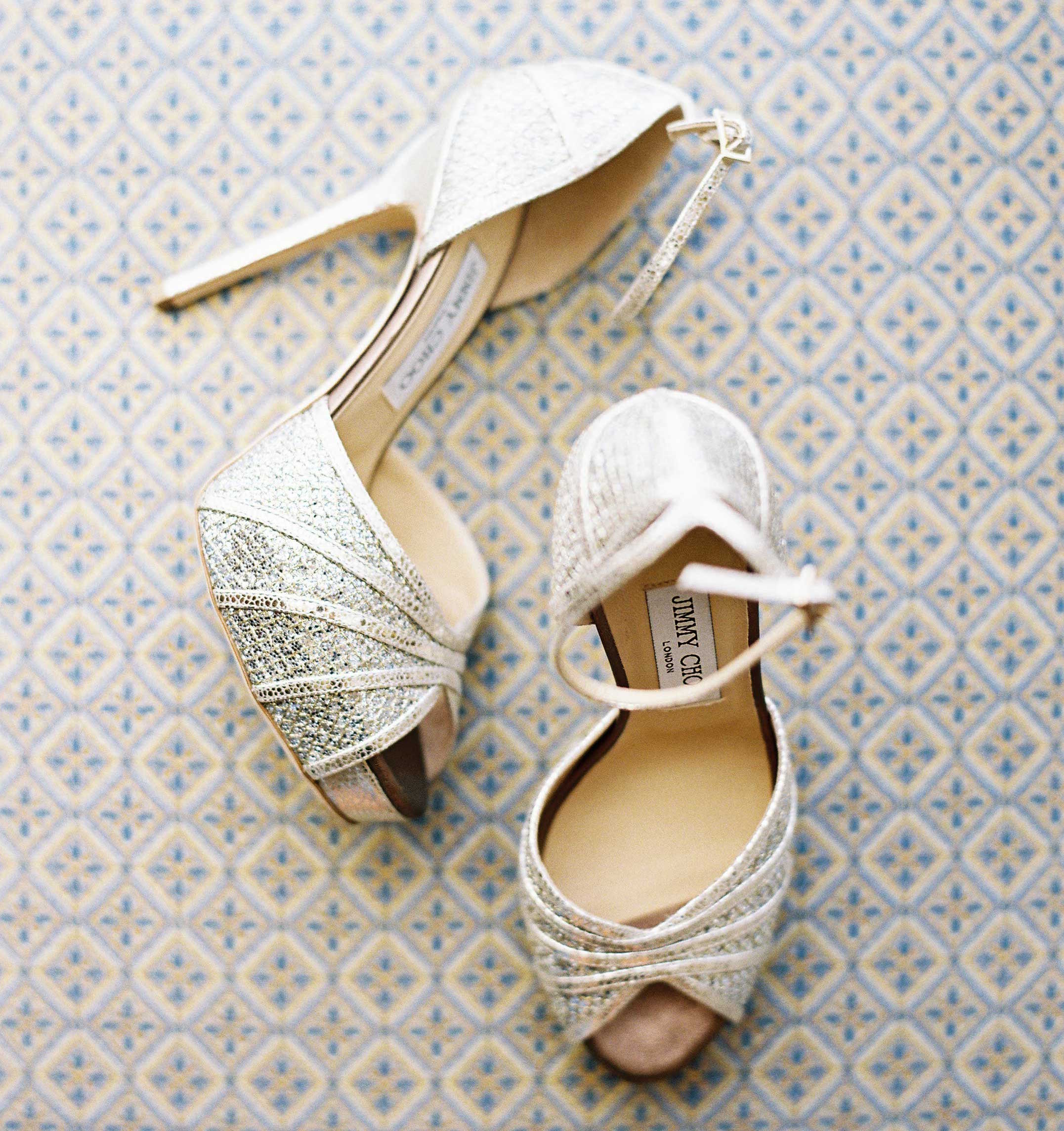 Platform sparkle Jimmy Choo wedding heels peep toe