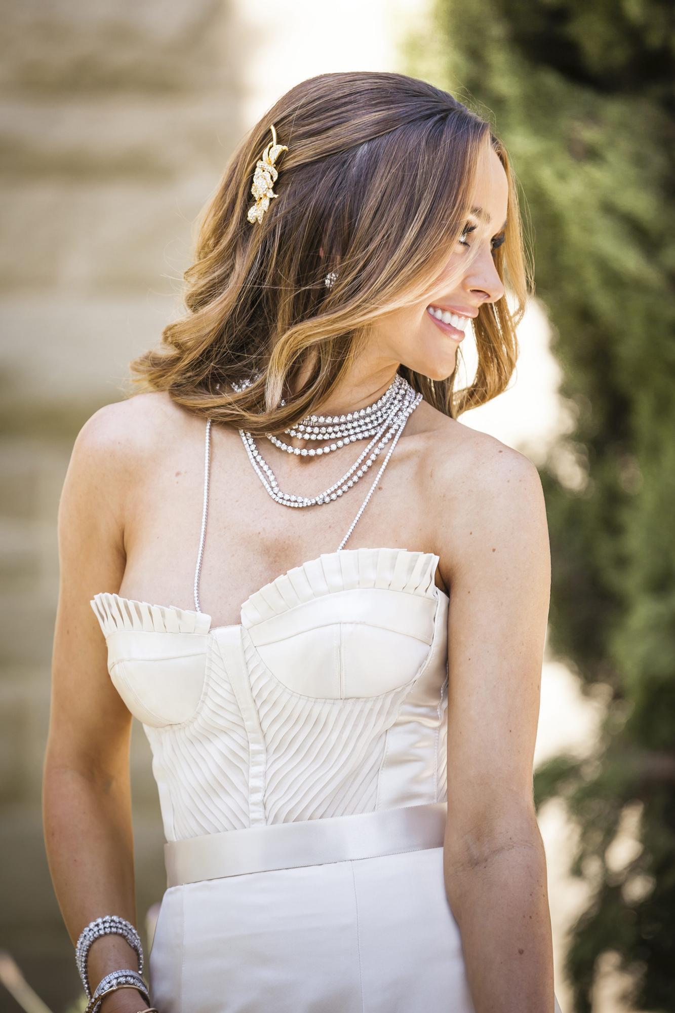 Courtney Bingham gold hair accessory headpiece Nikki Sixx Motley Crue