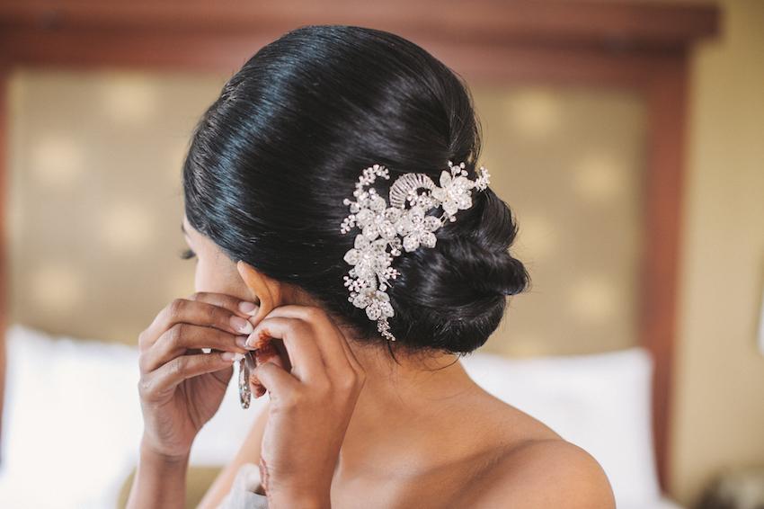 Flower print headpiece in bridal updo bun