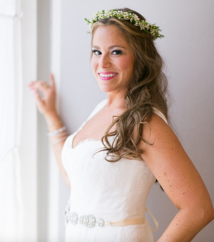 Green and white flower crown bridal headpiece