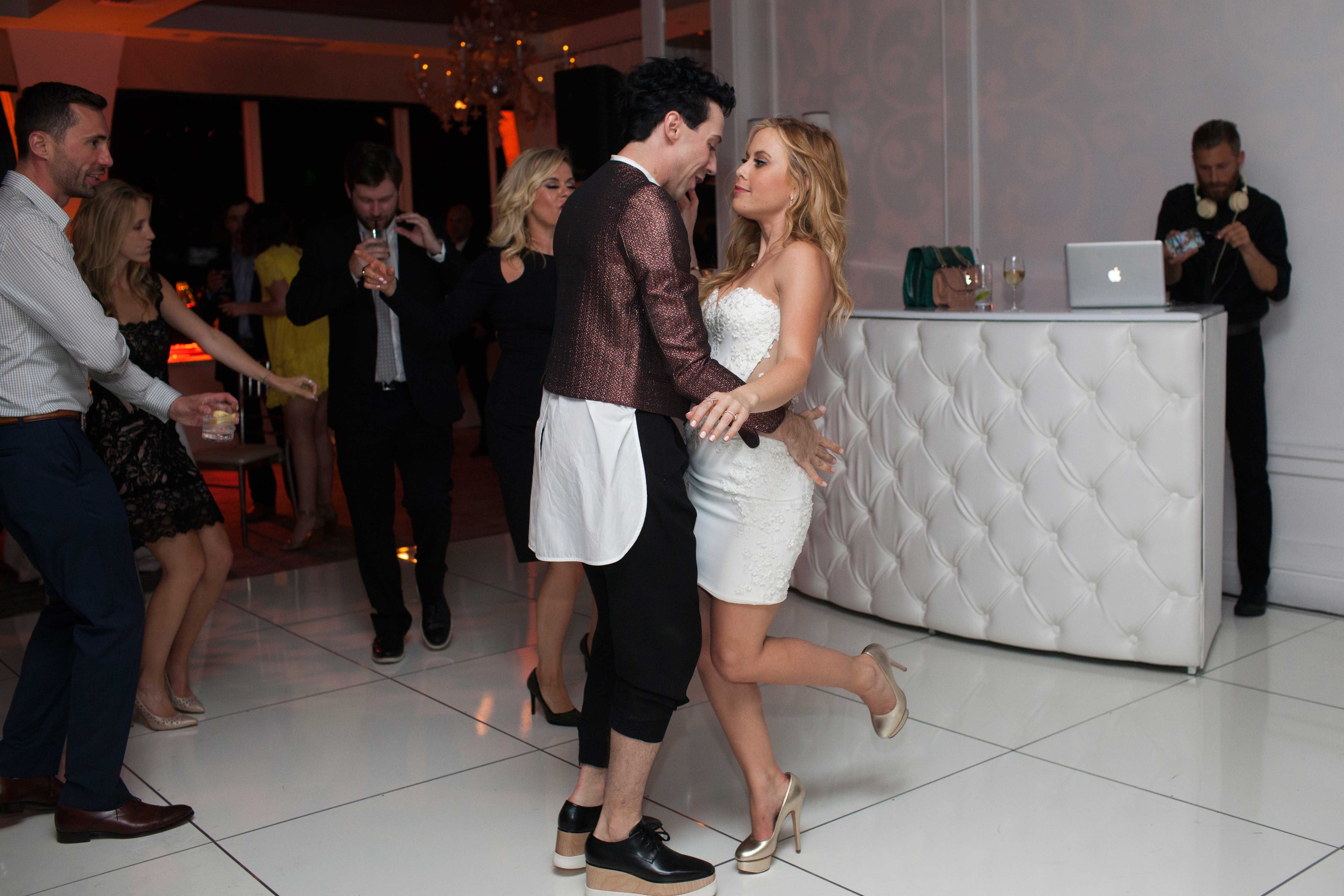 Olympic gold medalist Tara Lipinski's engagement party space dancing with Johnny Weir Mr C Beverly Hills May 2016 fiance Todd Kapostasy Mindy Weiss wedding planner