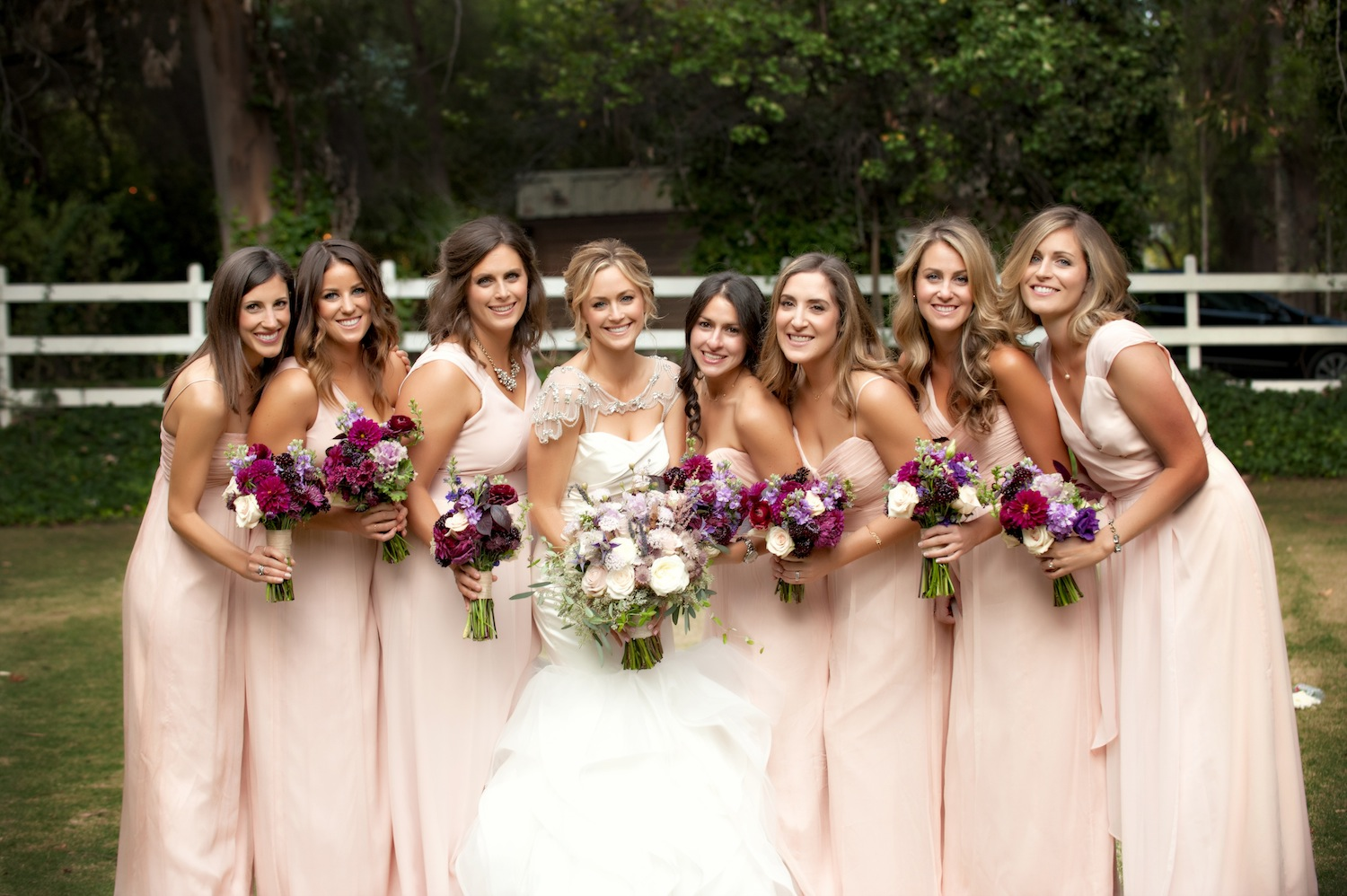 Bridesmaid dresses blush bridesmaid gowns from real weddings bride at calamigos ranch in malibu with blush bridesmaid dresses ombrellifo Images