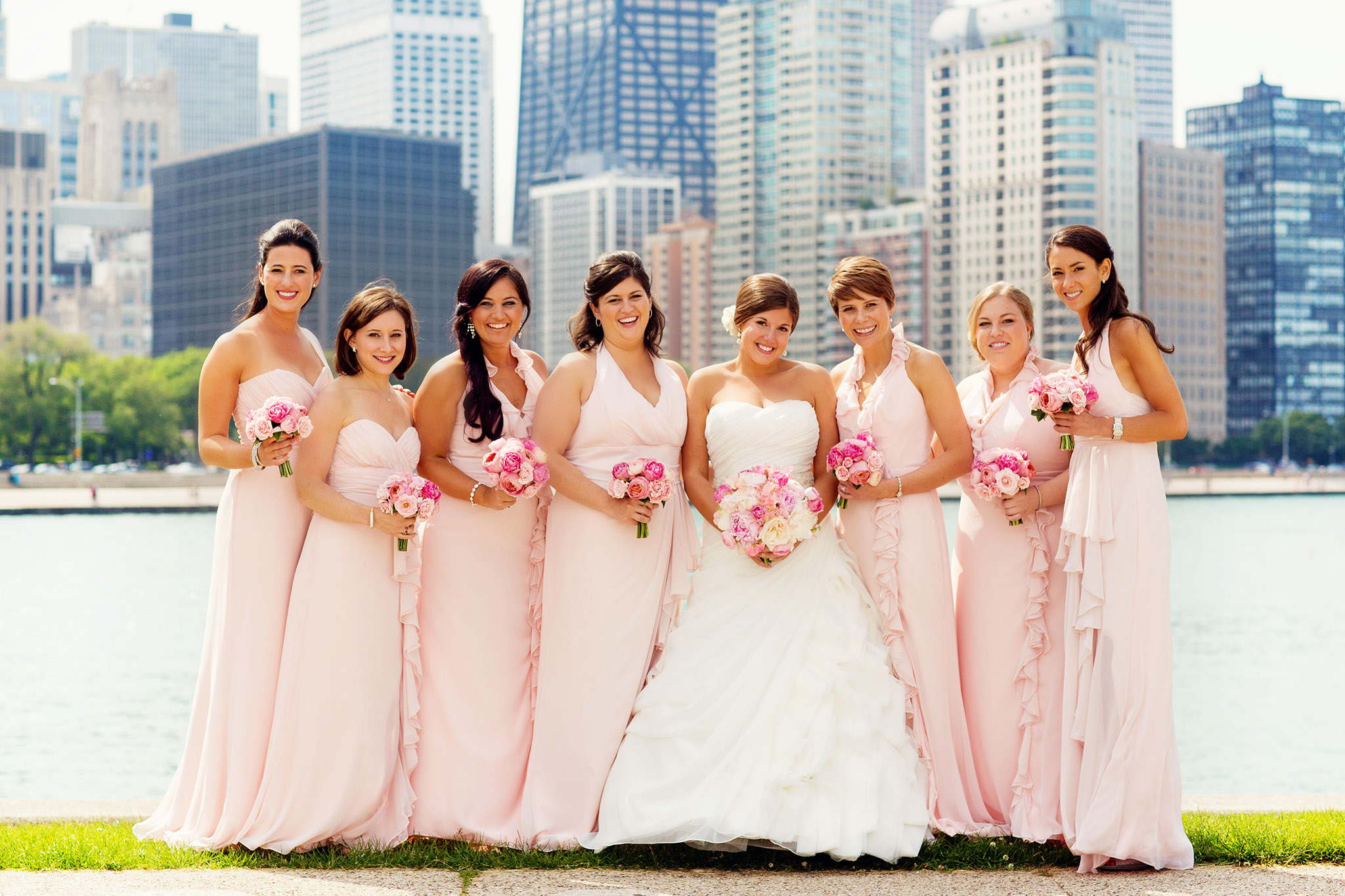 Bridesmaid dresses blush bridesmaid gowns from real weddings chicago wedding strapless and halter blush bridesmaid dresses ombrellifo Images